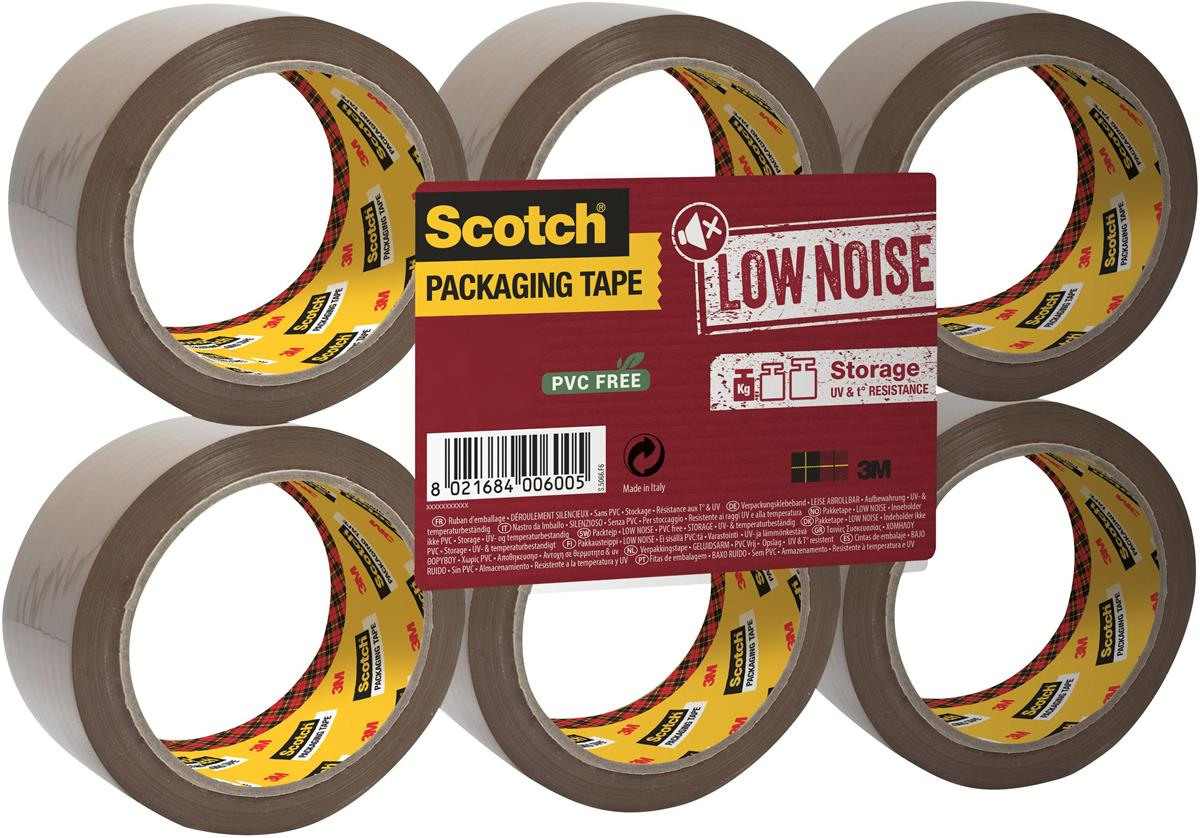 Image for Scotch Packaging Tape Low Noise 48mmx66m Buff Ref 3120BT [Pack 6]