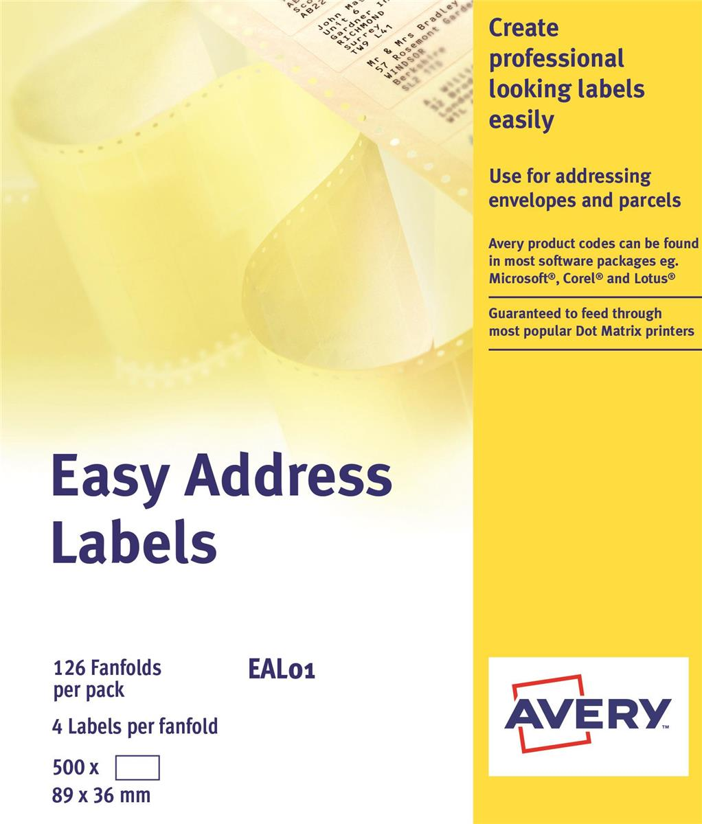 Image for Avery Easy Address Labels 89x37mm Ref EAL01 [500 Labels]