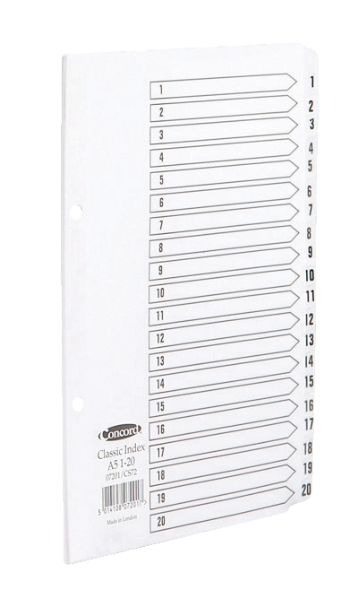 Image for Concord Classic Index Mylar-reinforced Punched 2 Holes 1-20 A5 White Ref 07201/CS72
