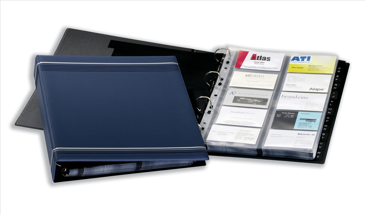 Image for Durable Visifix Business Card Album 4 Ring A-Z Index Capacity 400 A4 Dark Blue Ref 2388-07