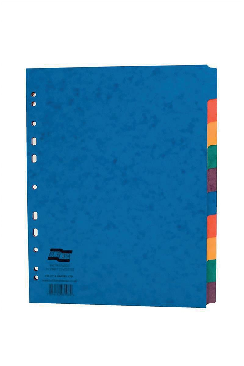 Image for Europa File Dividers Plain 10-part Extra-wide A4 Multi-coloured Ref 2410E