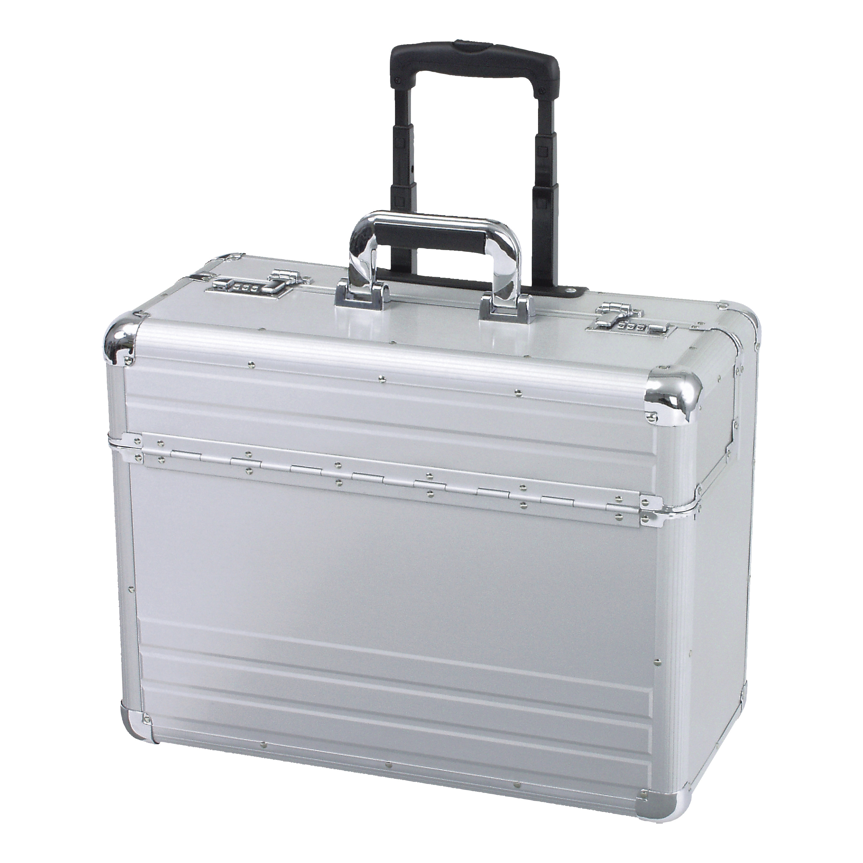 Briefcases & Luggage Alumaxx Omega Trolley Pilot Case 2 Combination Locks 5.3kg Silver Aluminium Ref 45122