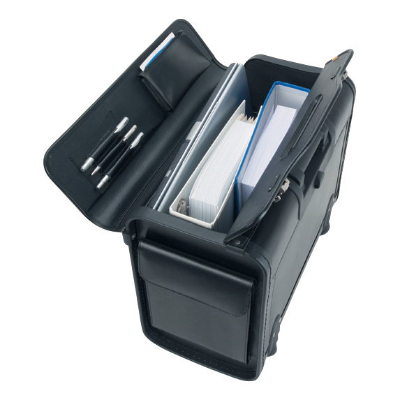 Image for Alassio Silvana Trolley Pilot Case Laptop Compartment 2 Combination Locks Leather-look Black Ref 92301