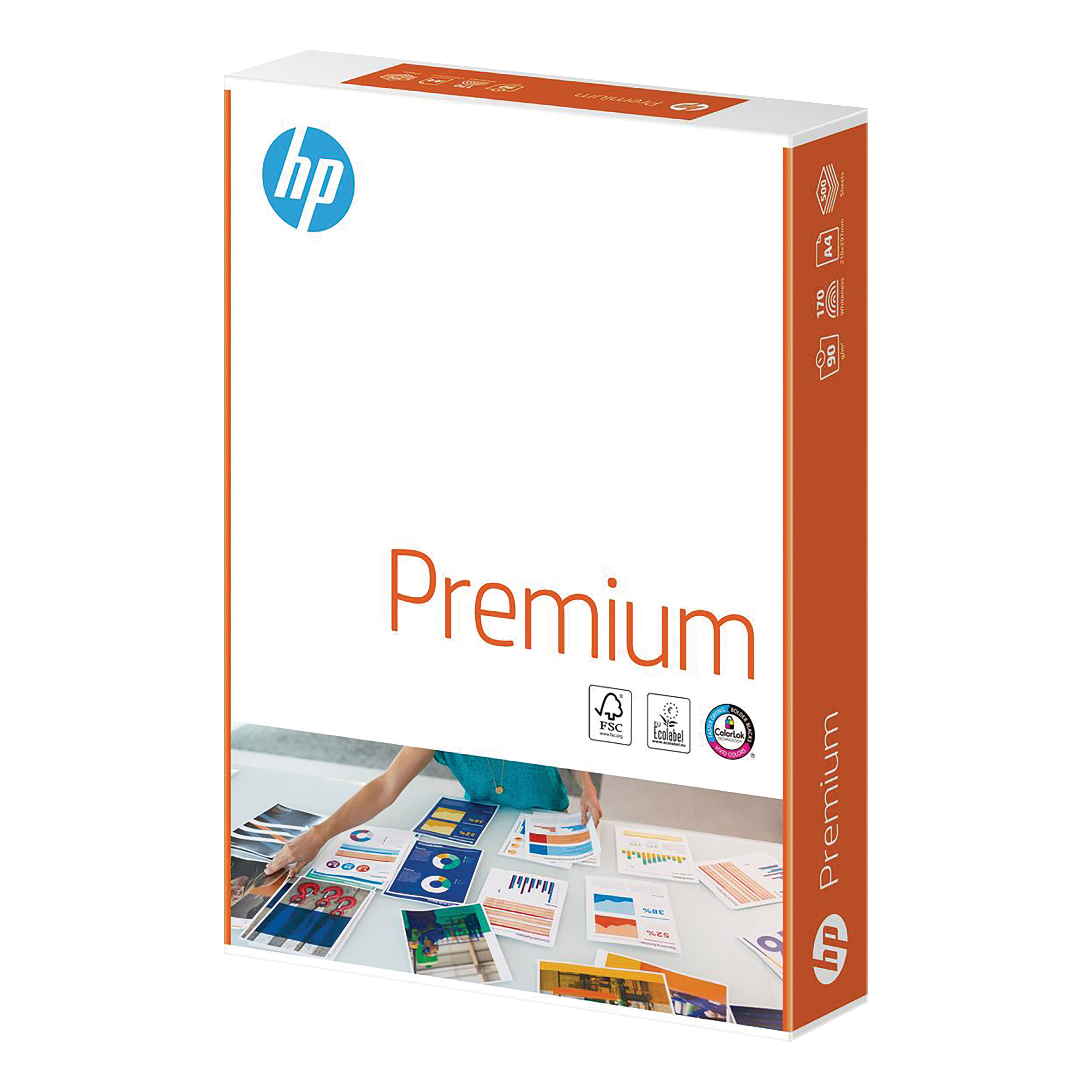Hewlett Packard HP Premium Paper FSC Colorlok Ream-wrapped 90gsm A4 White Ref 94293 500 Sheets