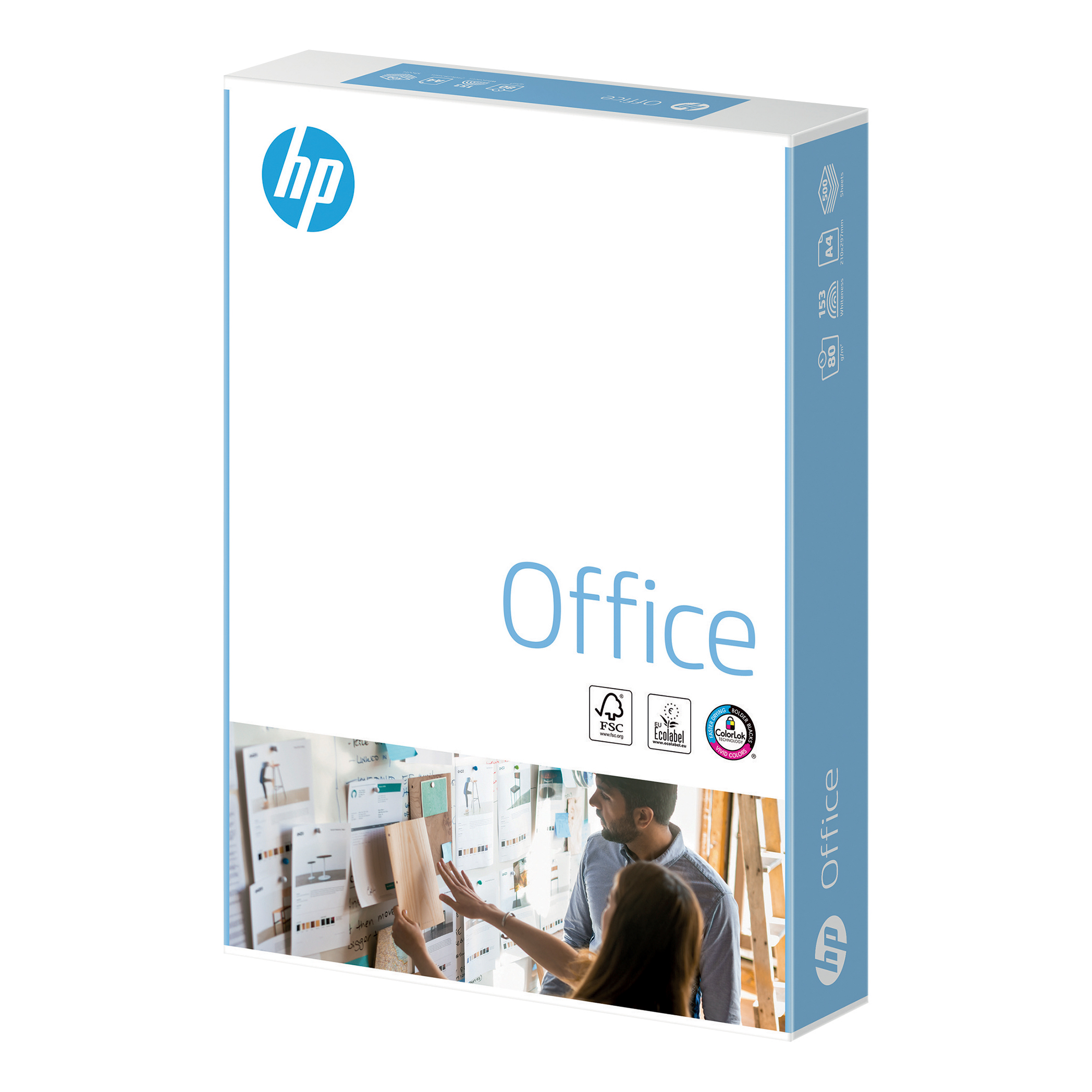 Hewlett Packard HP Office Paper FSC Colorlok 5x Ream-wrapped pks 80gsm A4 White Ref 93595 2500 Sheets