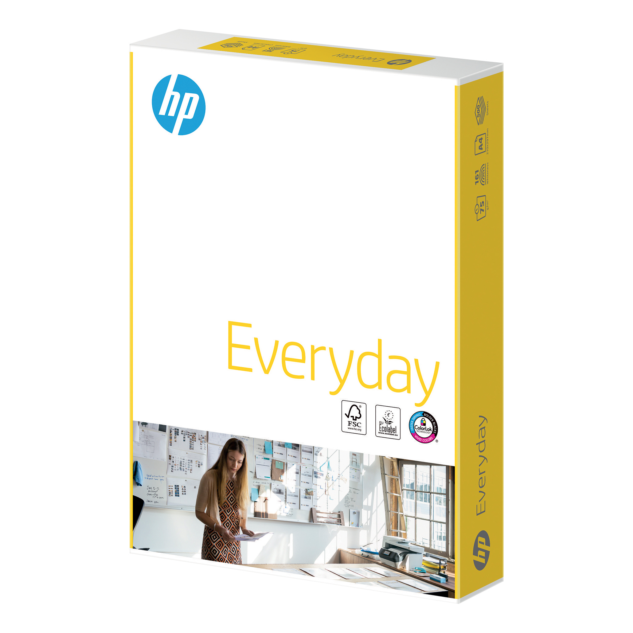 Hewlett Packard HP Everyday Paper FSC Colorlok 5x Ream-wrapped Pk 75gsm A4 White Ref 87931 [2500 Sheets]