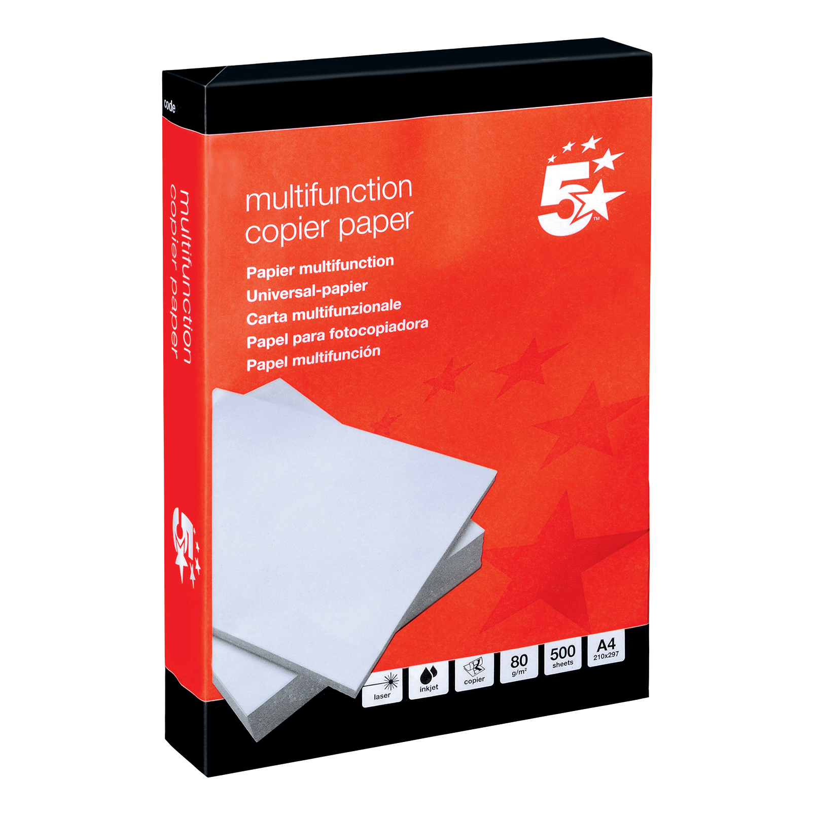 A4 5 Star Office Copier Paper Multifunctional Ream-Wrapped 80gsm A4 White [5 x 500 Sheets]