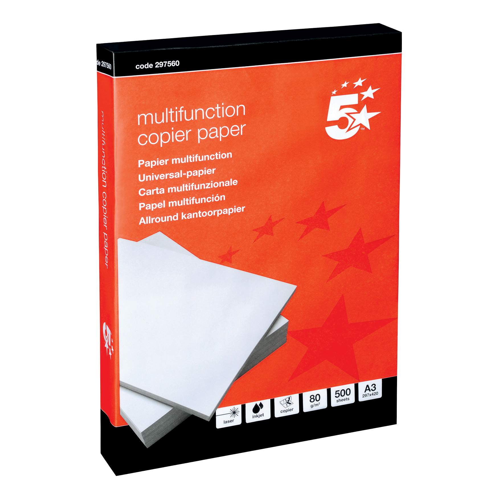A3 5 Star Office Copier Paper Multifunctional Ream-Wrapped 80gsm A3 White [500 Sheets]