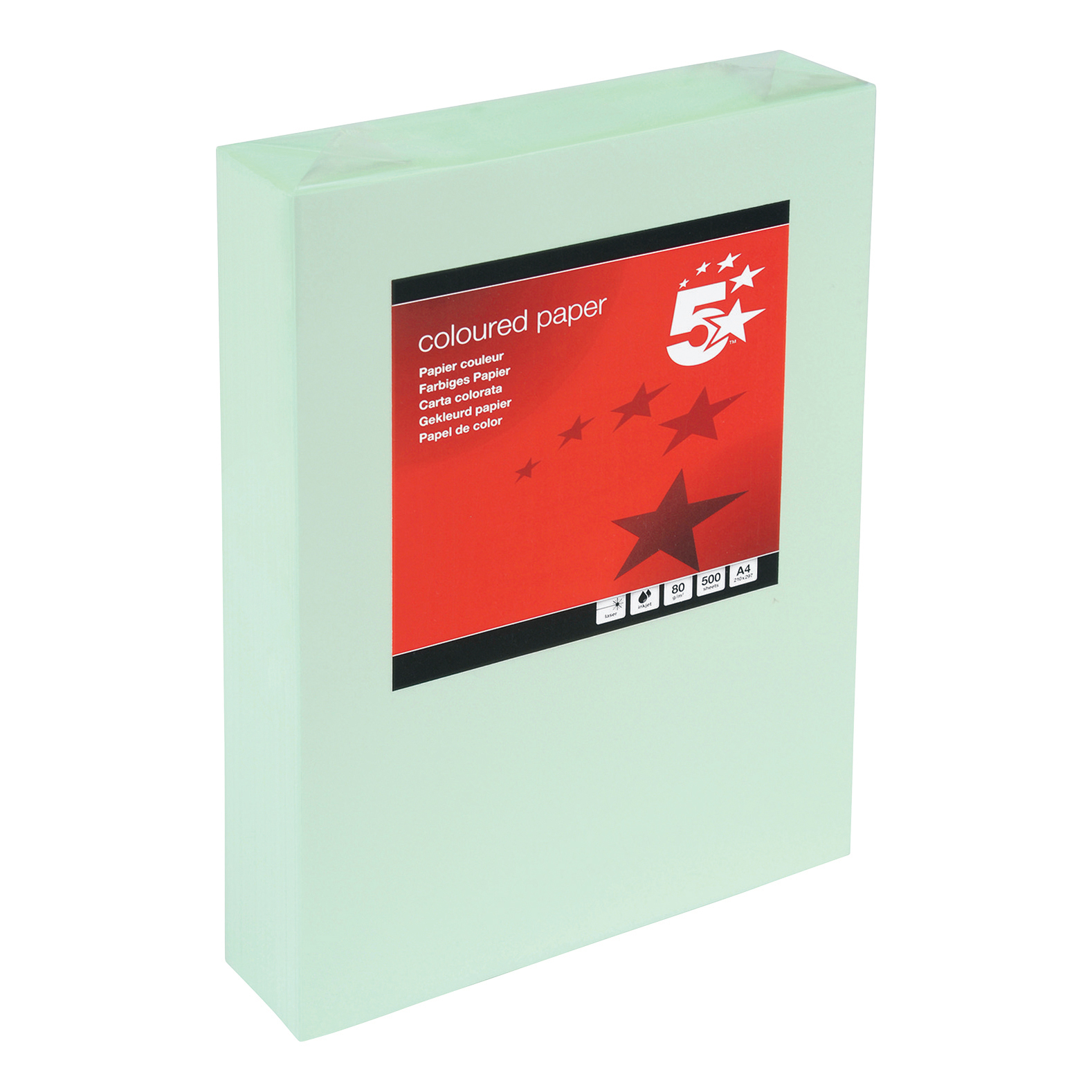 5 Star Office Coloured Copier Paper Multifunctional Ream-Wrapped 80gsm A4 Light Green 500 Sheets