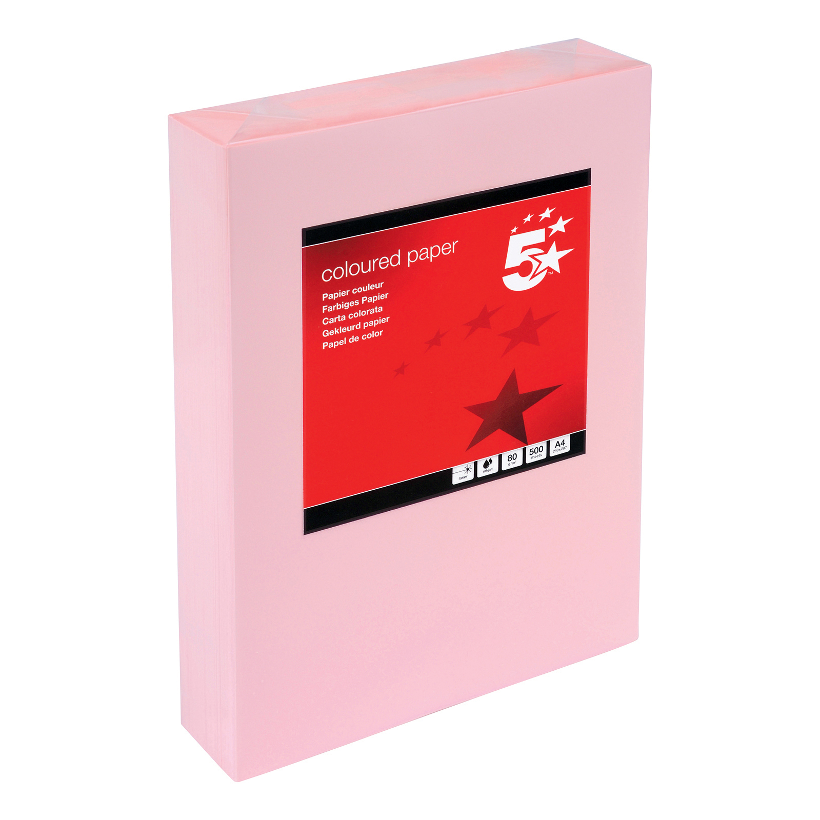 5 Star Office Coloured Copier Paper Multifunctional Ream-Wrapped 80gsm A4 Light Pink [500 Sheets] VD2019