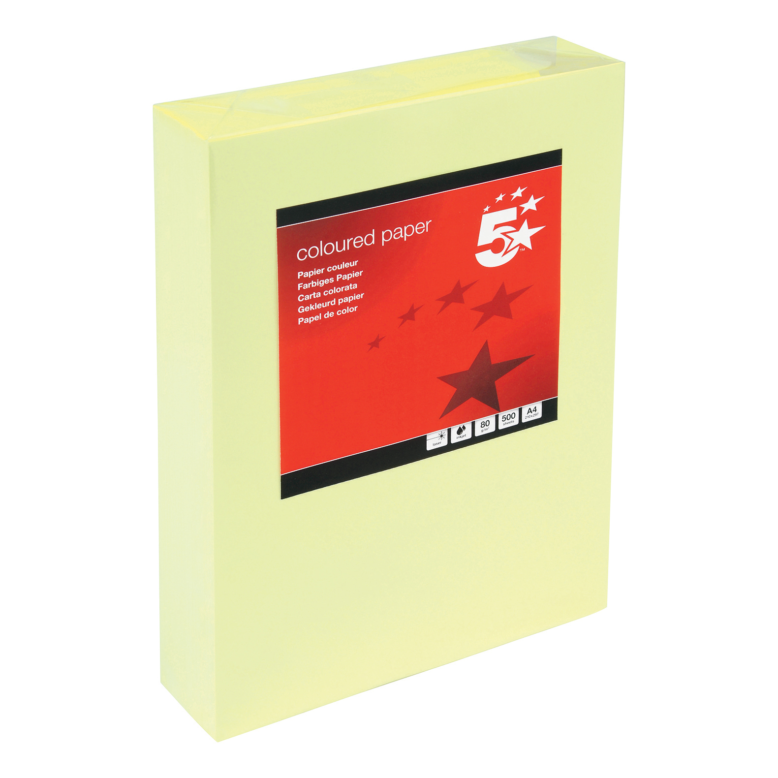 5 Star Office Coloured Copier Paper Multifunctional Ream-Wrapped 80gsm A4 Light Yellow 500 Sheets