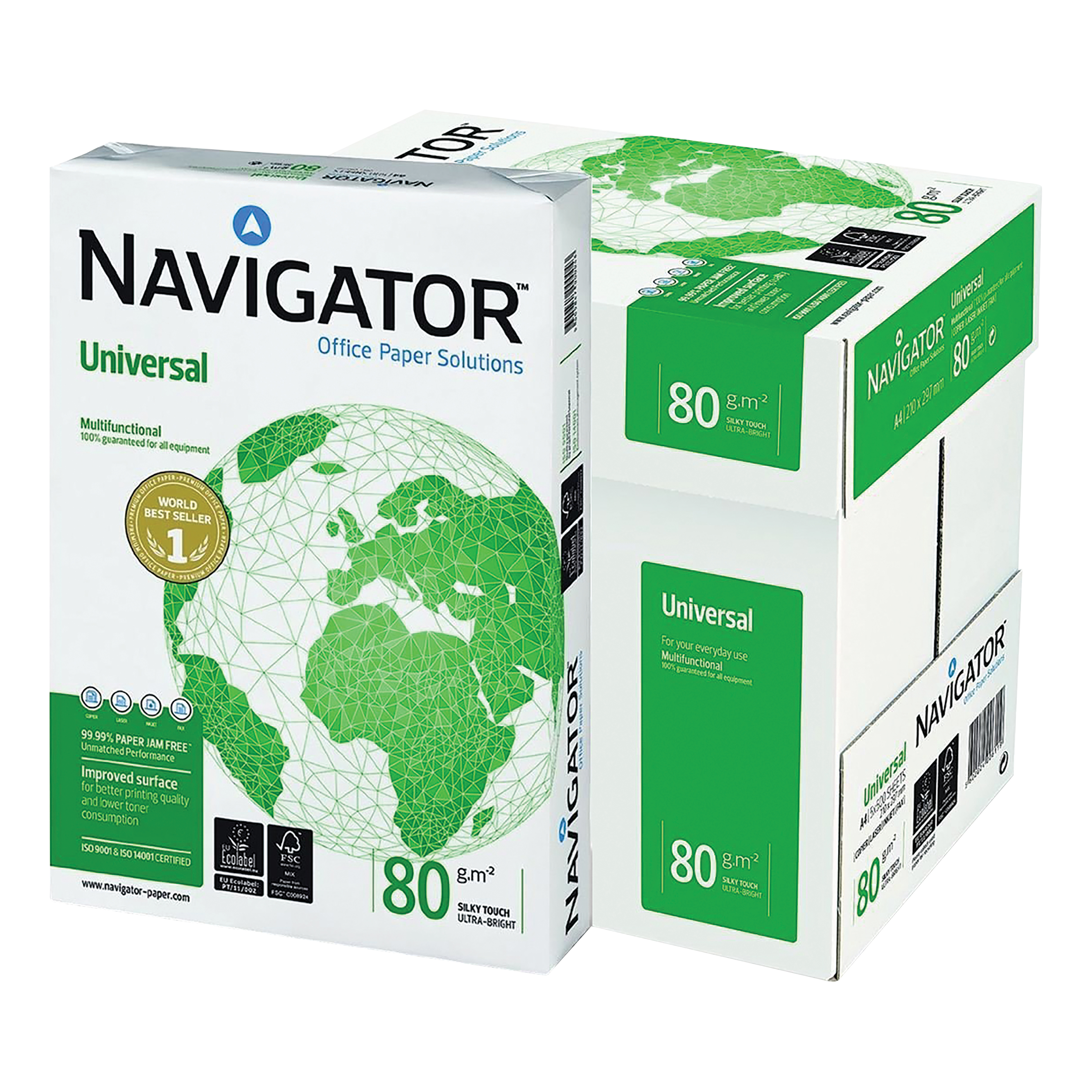 Navigator Universal Paper Multifunctional Ream-Wrapped 80gsm A4 White Ref NUN0800033 [5 x 500 Sheets]