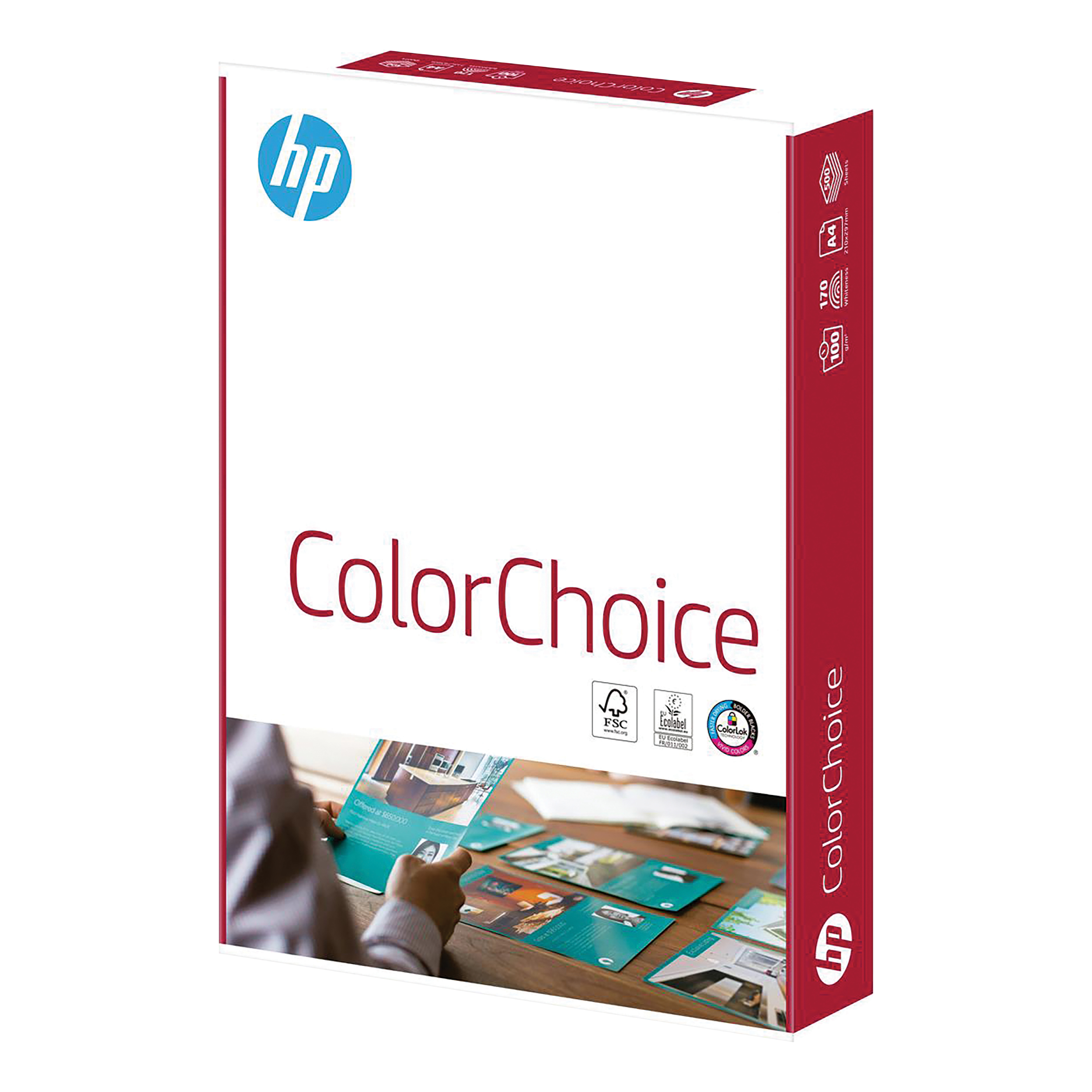 Hewlett Packard HP Color Choice Paper Smooth FSC Colorlok 100gsm A4 White Ref 94291 500 Sheets