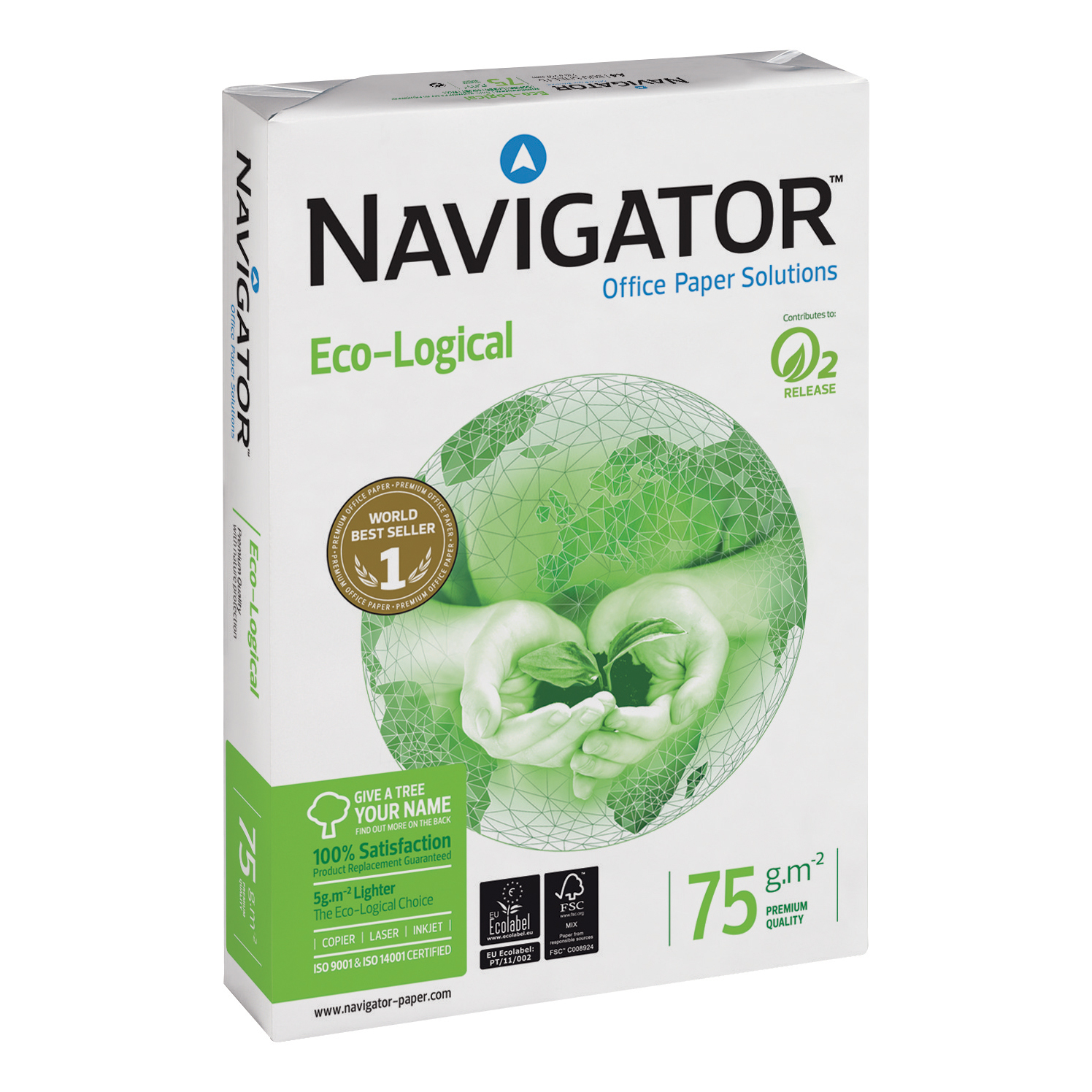 Navigator Eco-logical Paper FSC Ream-Wrapped 75gsm A4 White Ref NEC0750012 [5 x 500 Sheets]