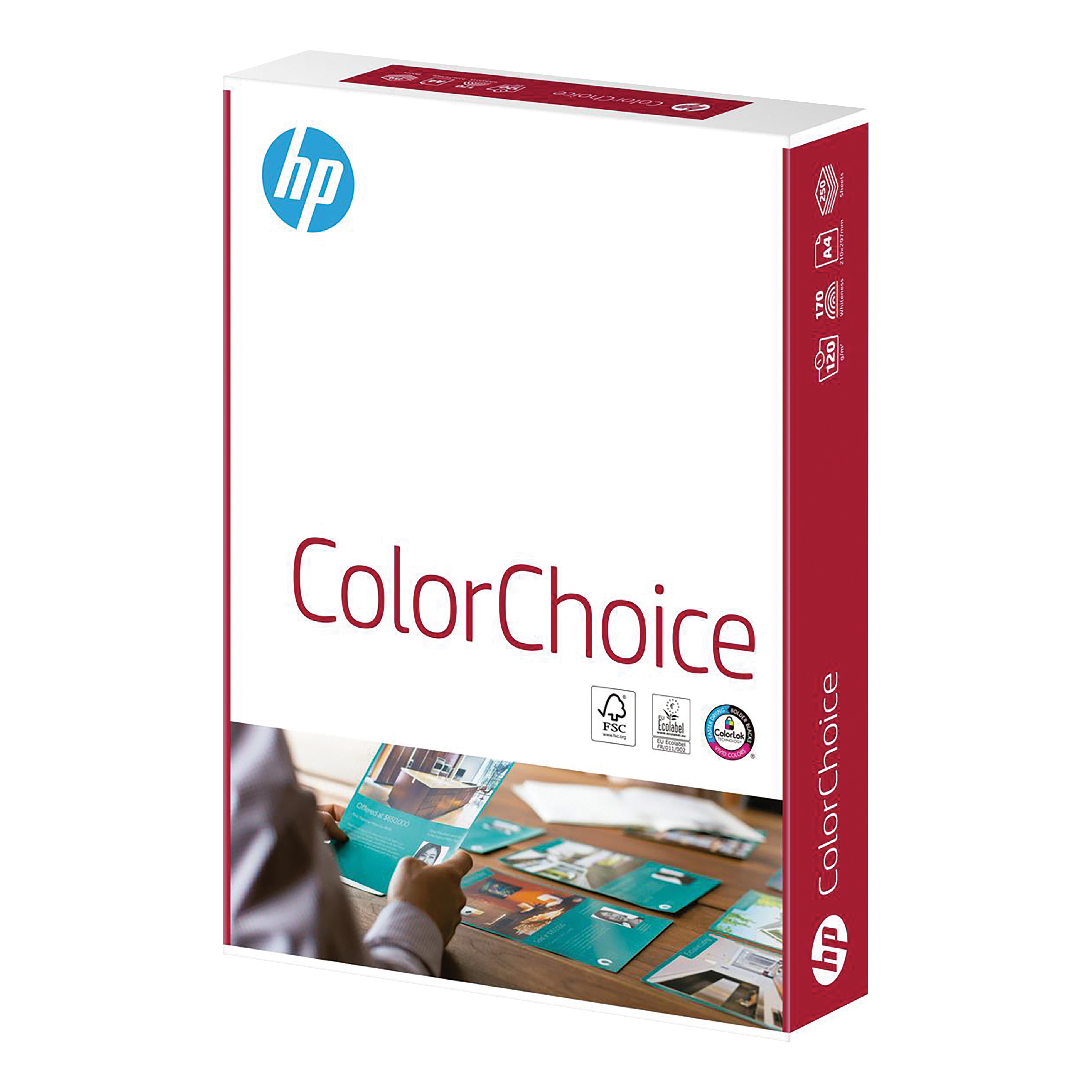 Hewlett Packard HP Color Choice Paper Smooth FSC ColorLok 120gsm A4 White Ref 94292 250 Sheets