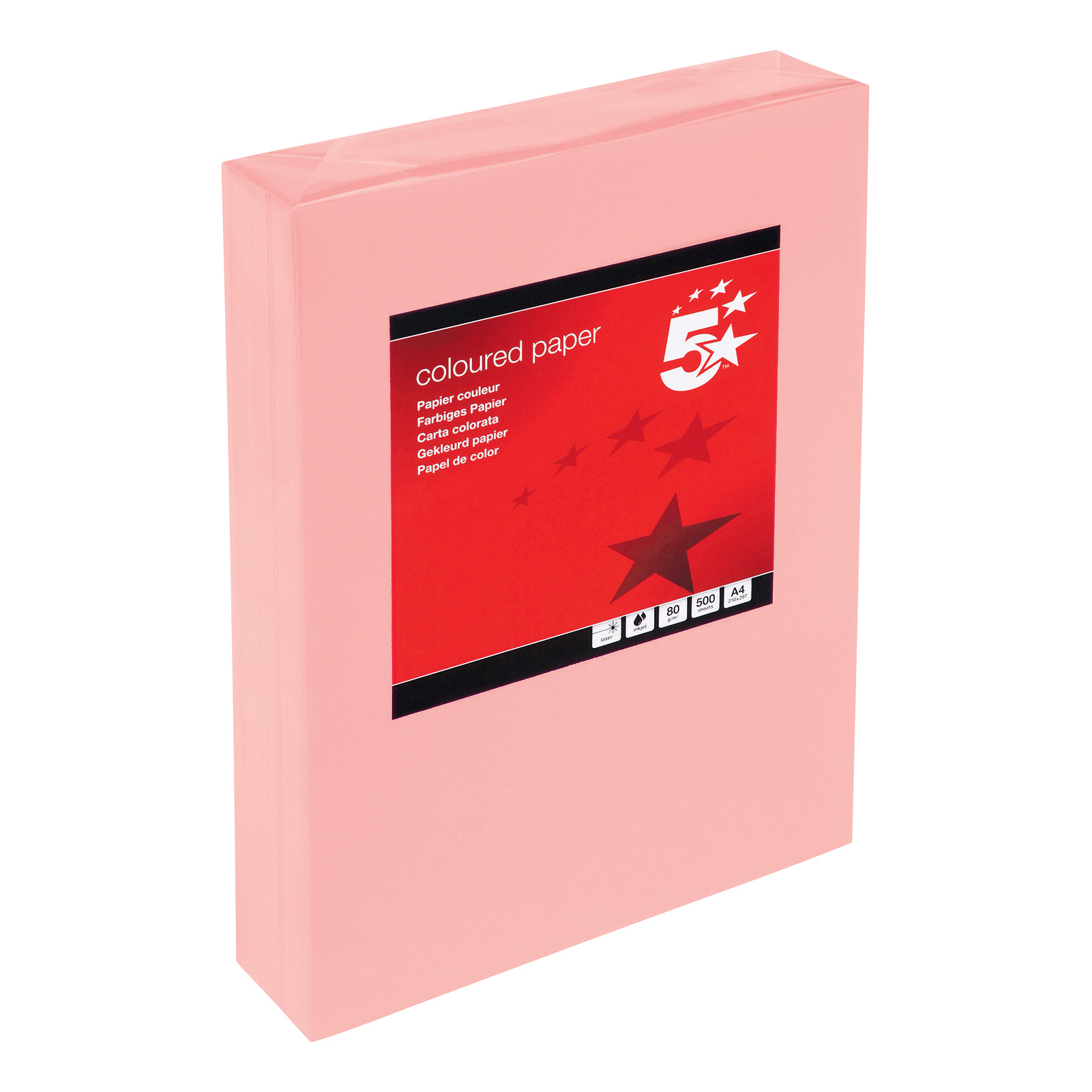 A4 5 Star Office Coloured Copier Paper Multifunctional Ream-Wrapped 80gsm A4 Medium Salmon 500 Sheets