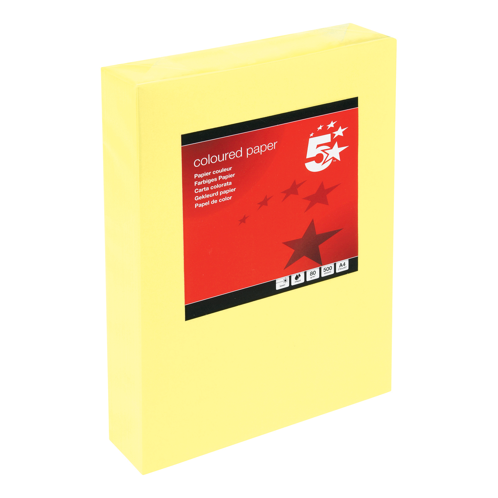 5 Star Office Coloured Copier Paper Multifunctional Ream-Wrapped 80gsm A4 Medium Yellow 500 Sheets