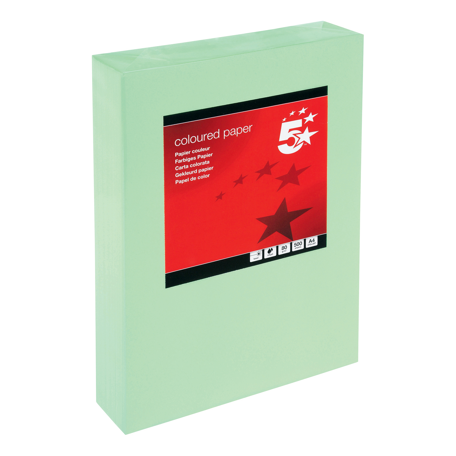 A4 5 Star Office Coloured Copier Paper Multifunctional Ream-Wrapped 80gsm A4 Medium Green [500 Sheets]
