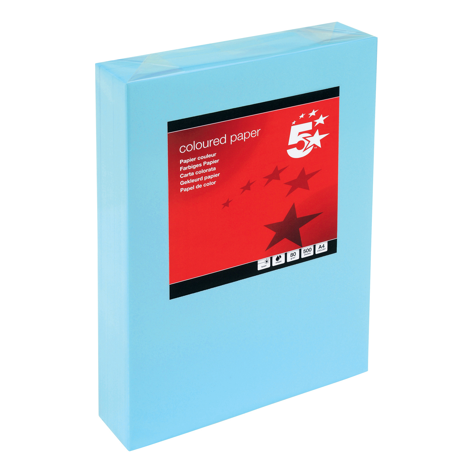 A4 5 Star Office Coloured Copier Paper Multifunctional Ream-Wrapped 80gsm A4 Medium Blue 500 Sheets