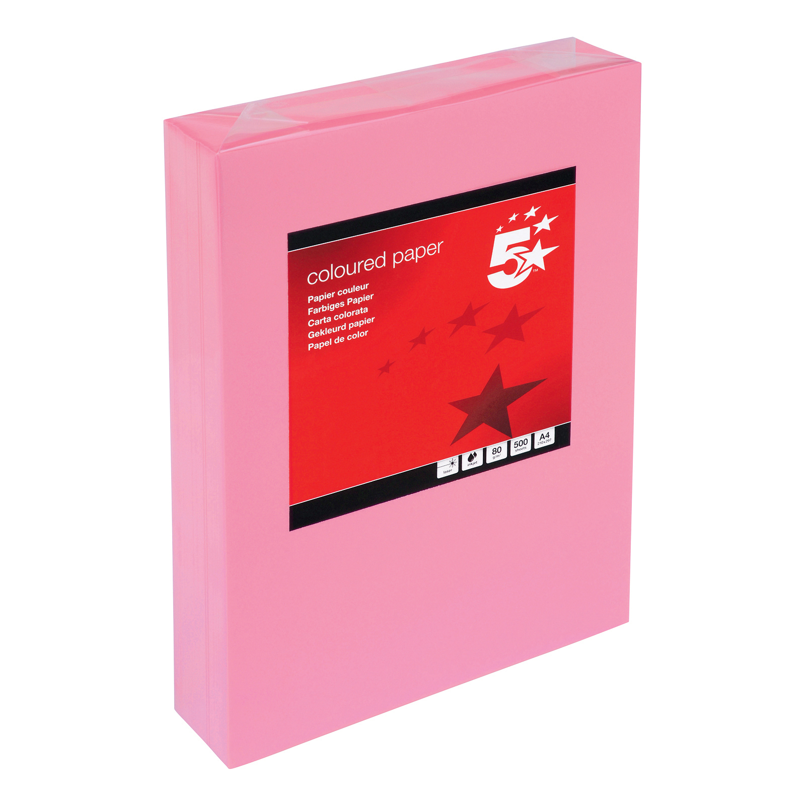 A4 5 Star Office Coloured Copier Paper Multifunctional Ream-Wrapped 80gsm A4 Medium Pink 500 Sheets