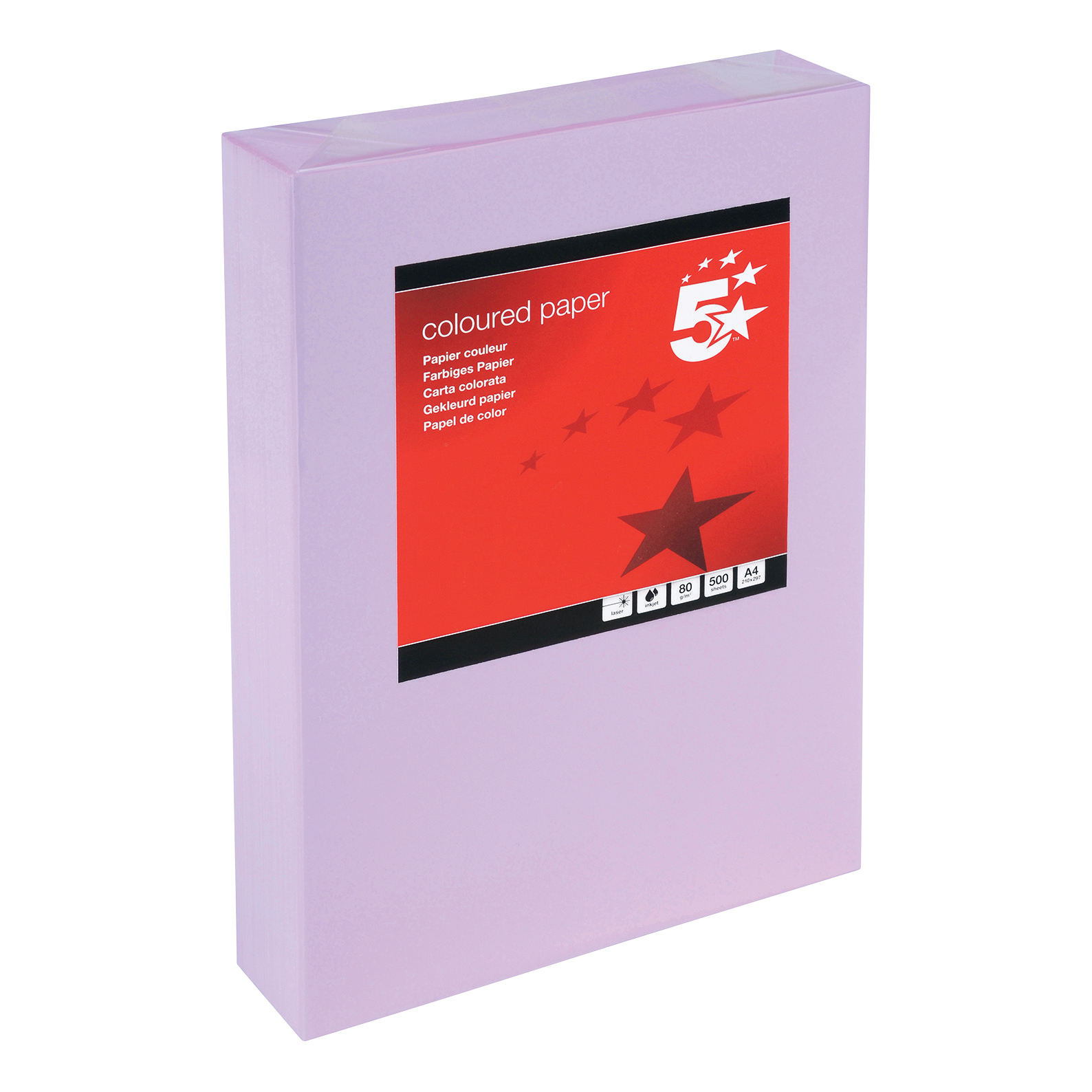 5 Star Office Coloured Copier Paper Multifunctional Ream-Wrapped 80gsm A4 Medium Violet [500 Sheets]
