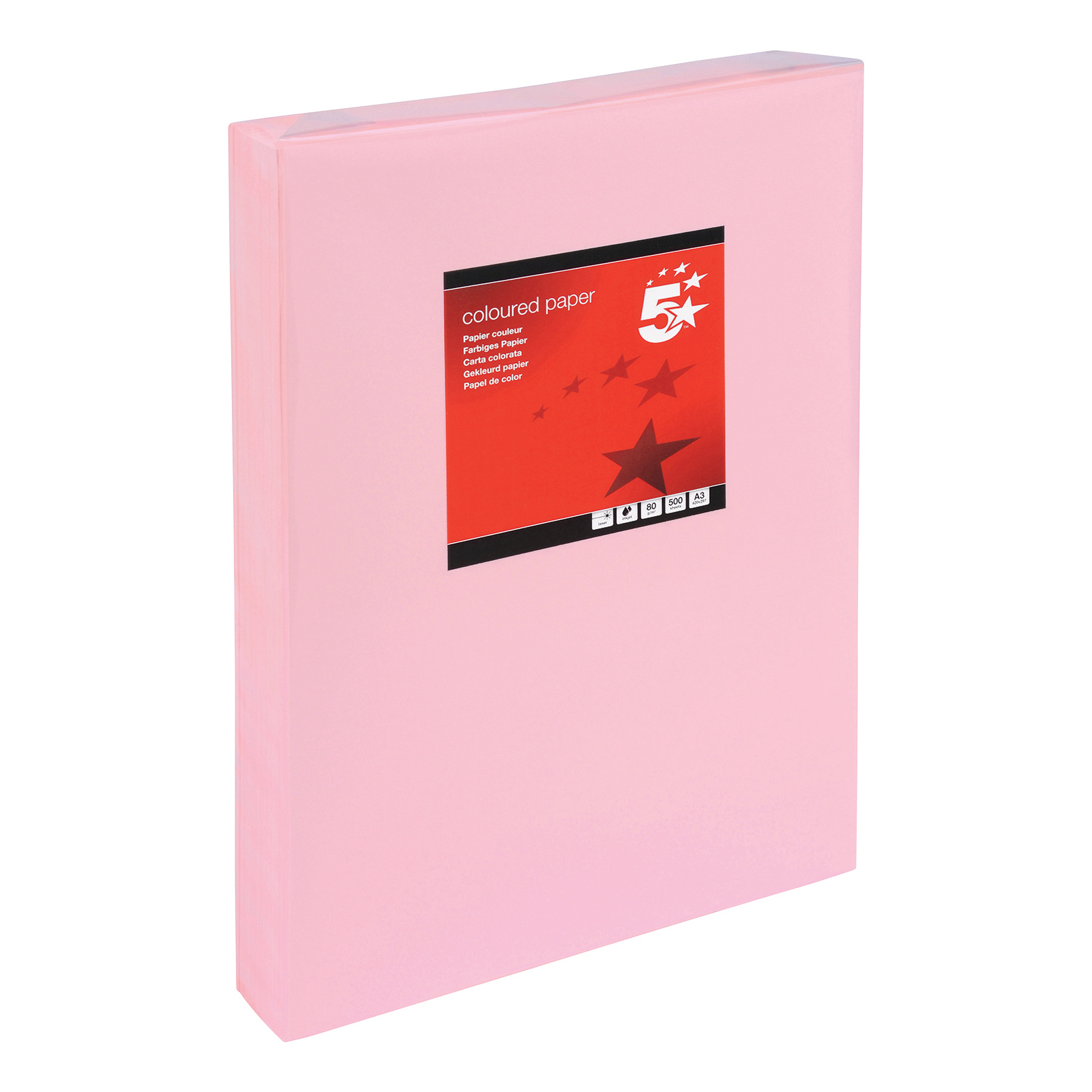 5 Star Office Coloured Copier Paper Multifunctional Ream-Wrapped 80gsm A3 Light Pink 500 Sheets