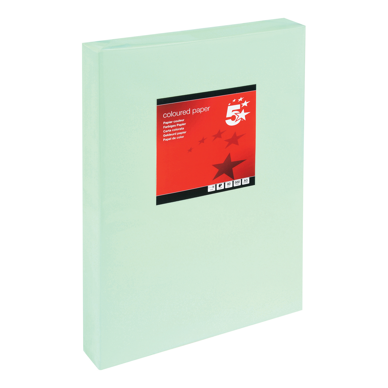 5 Star Office Coloured Copier Paper Multifunctional Ream-Wrapped 80gsm A3 Light Green 500 Sheets