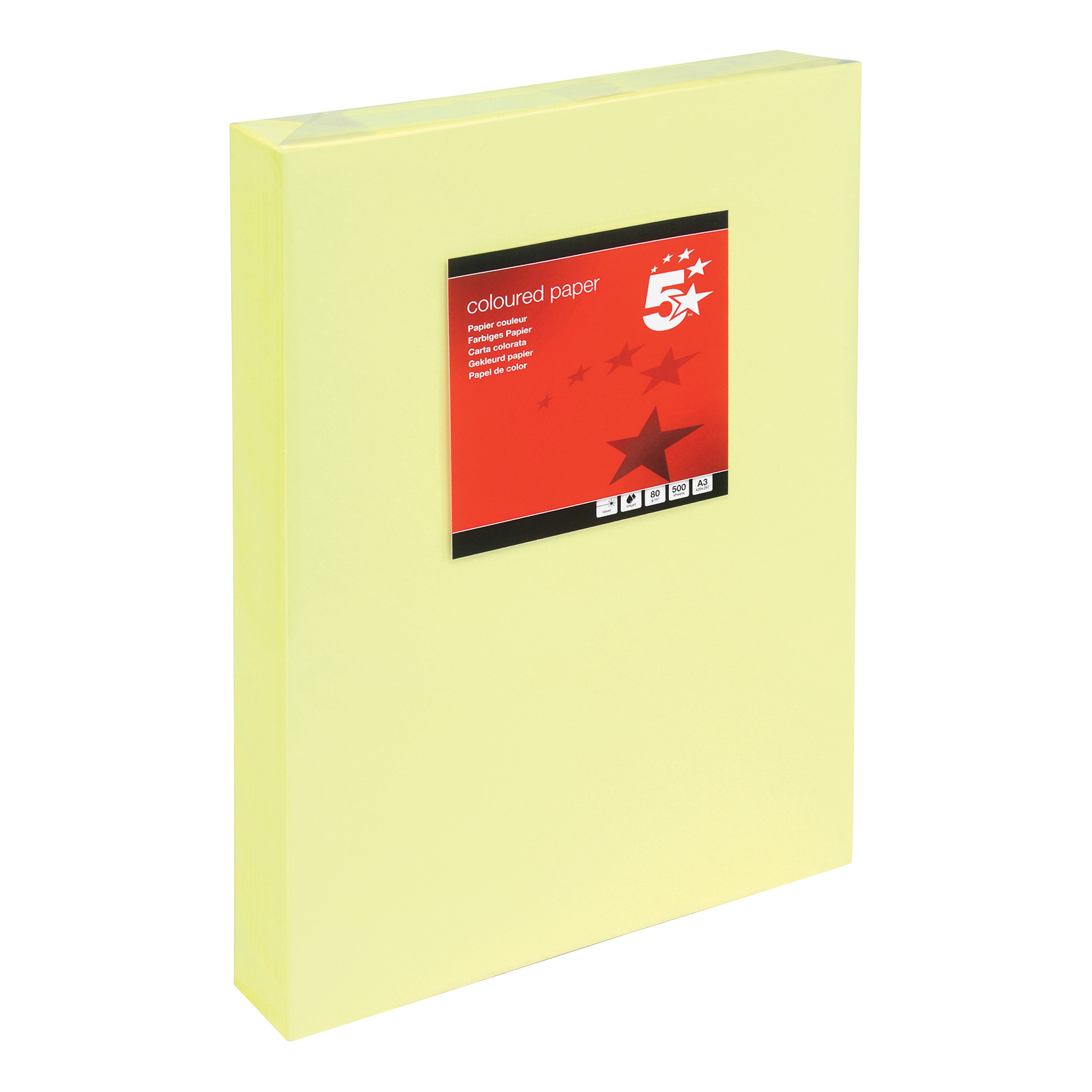 5 Star Office Coloured Copier Paper Multifunctional Ream-Wrapped 80gsm A3 Light Yellow 500 Sheets