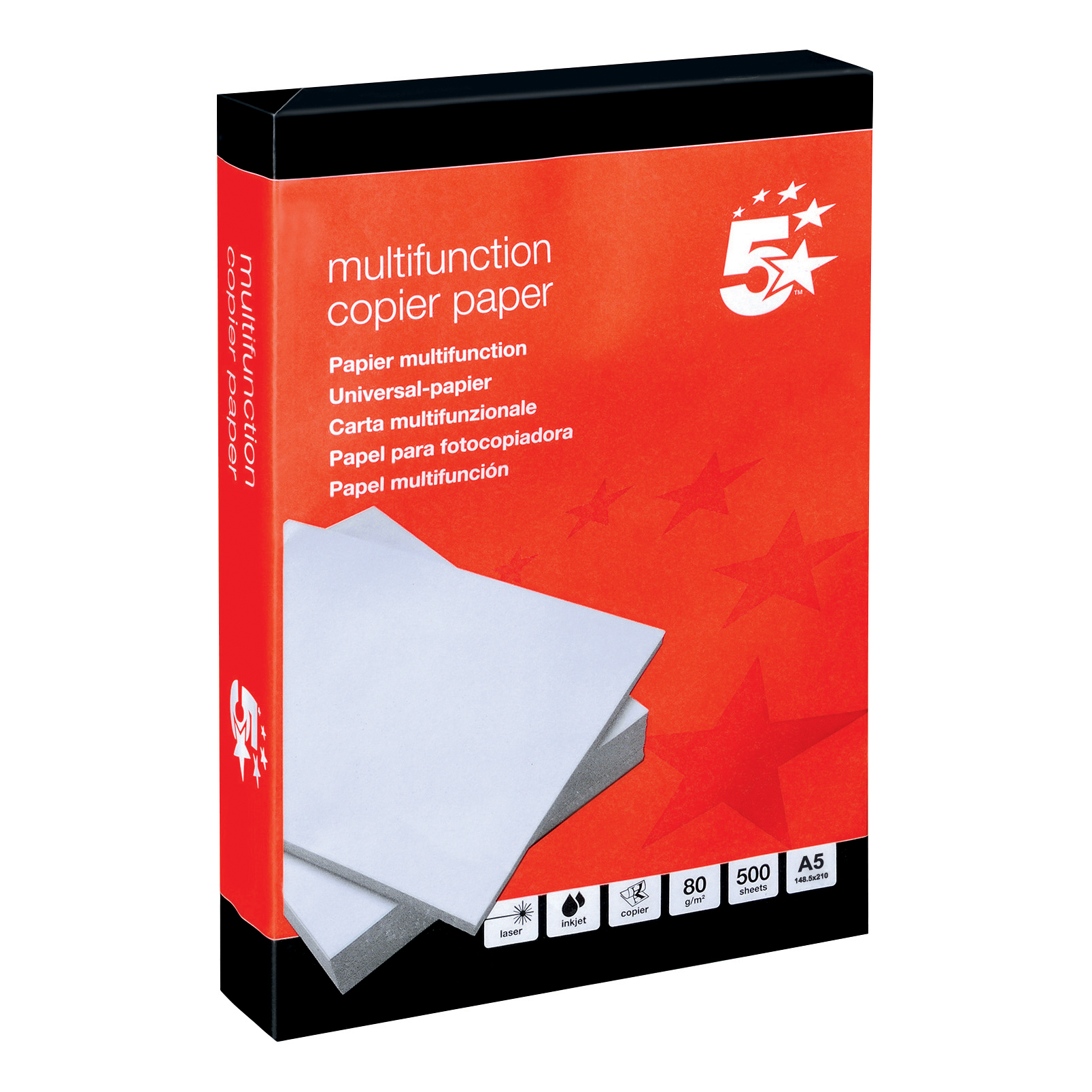 Printer (Laser, Inkjet, Copier) 5 Star Office Copier Paper Multifunctional Ream-Wrapped 80gsm A5 White 500 Sheets