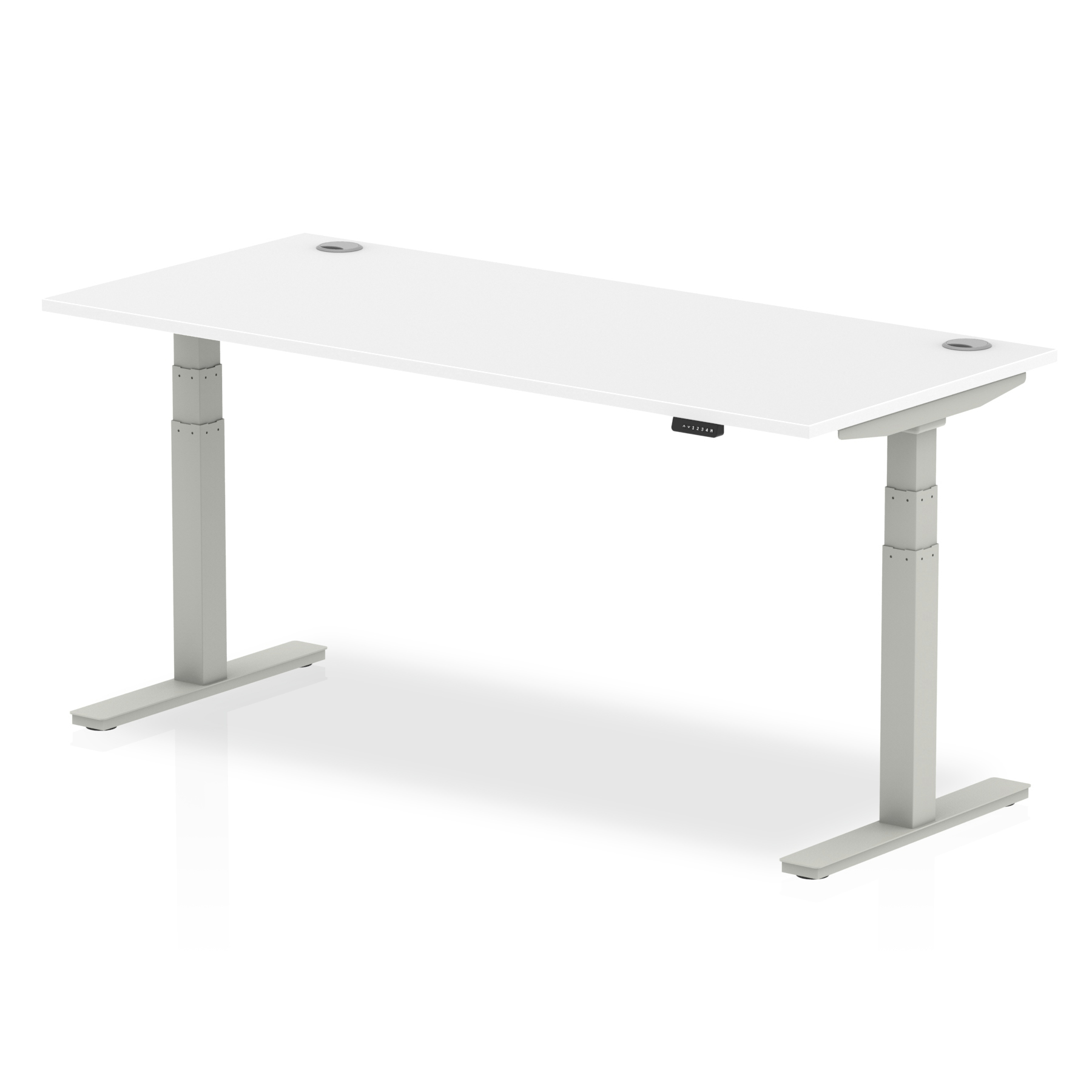Trexus Sit Stand Desk With Cable Ports Silver Legs 1800x800mm White Ref HA01092