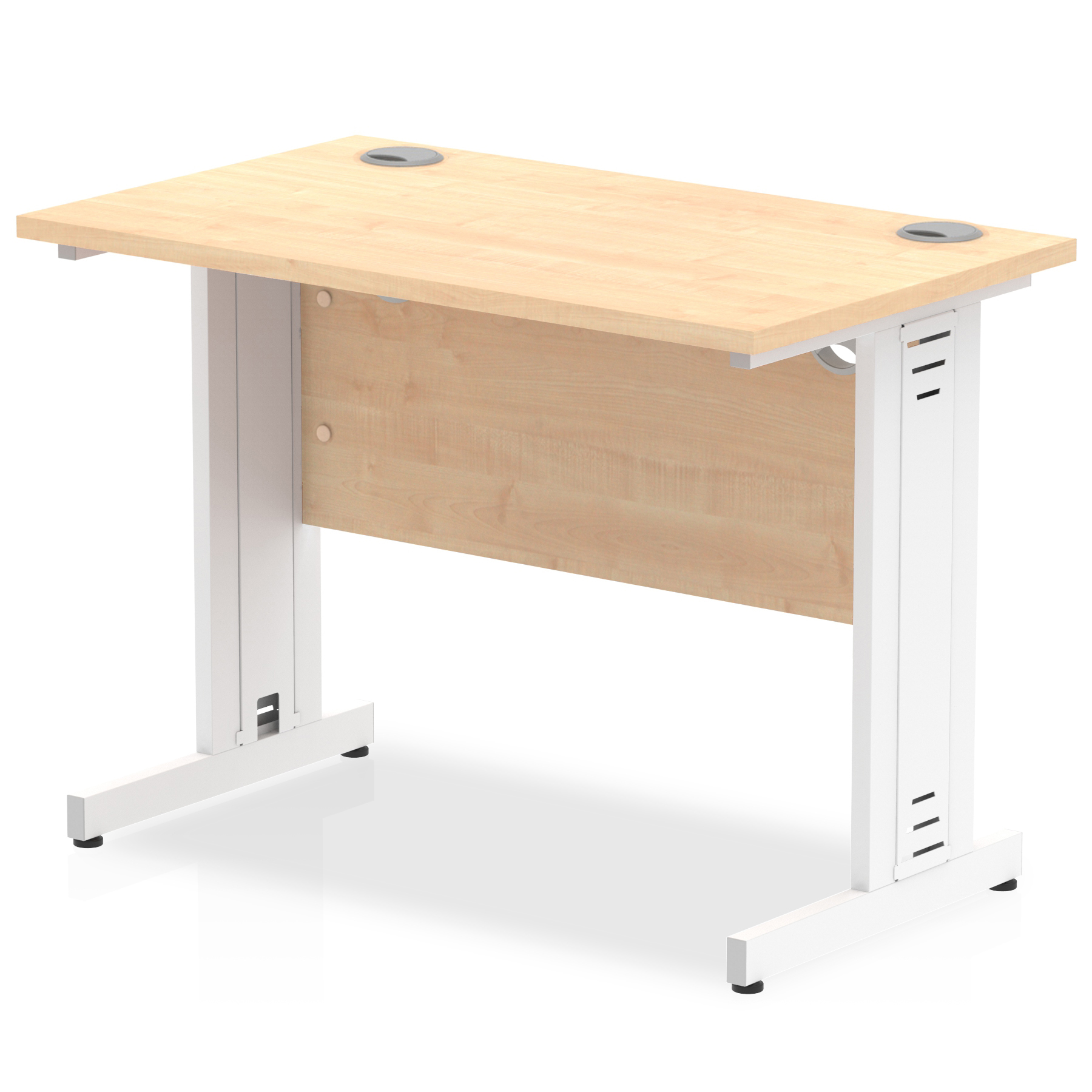 Trexus Desk Rectangle Cable Managed White Leg 1000x600mm Maple Ref MI002506