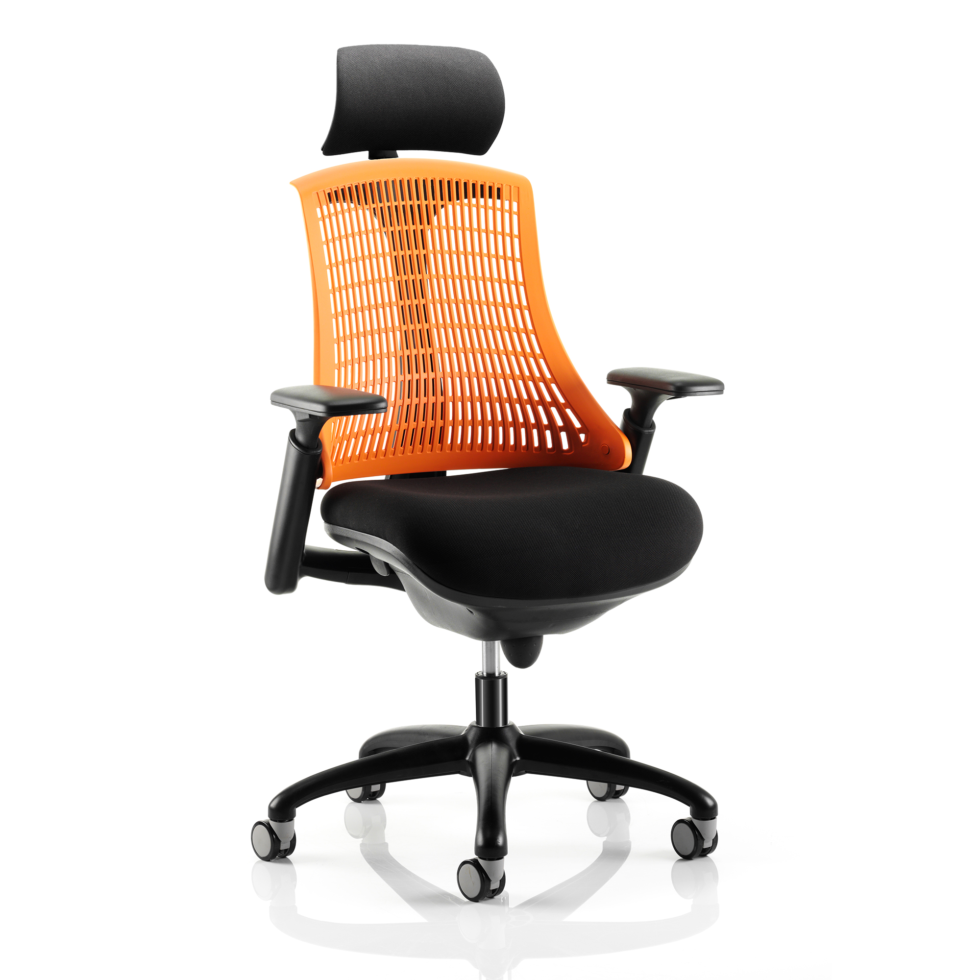 Guest seating Trexus Flex Task Operator Chair With Arms And Headrest Blk Fabric Seat Orange Back Blk Frame Ref KC0107