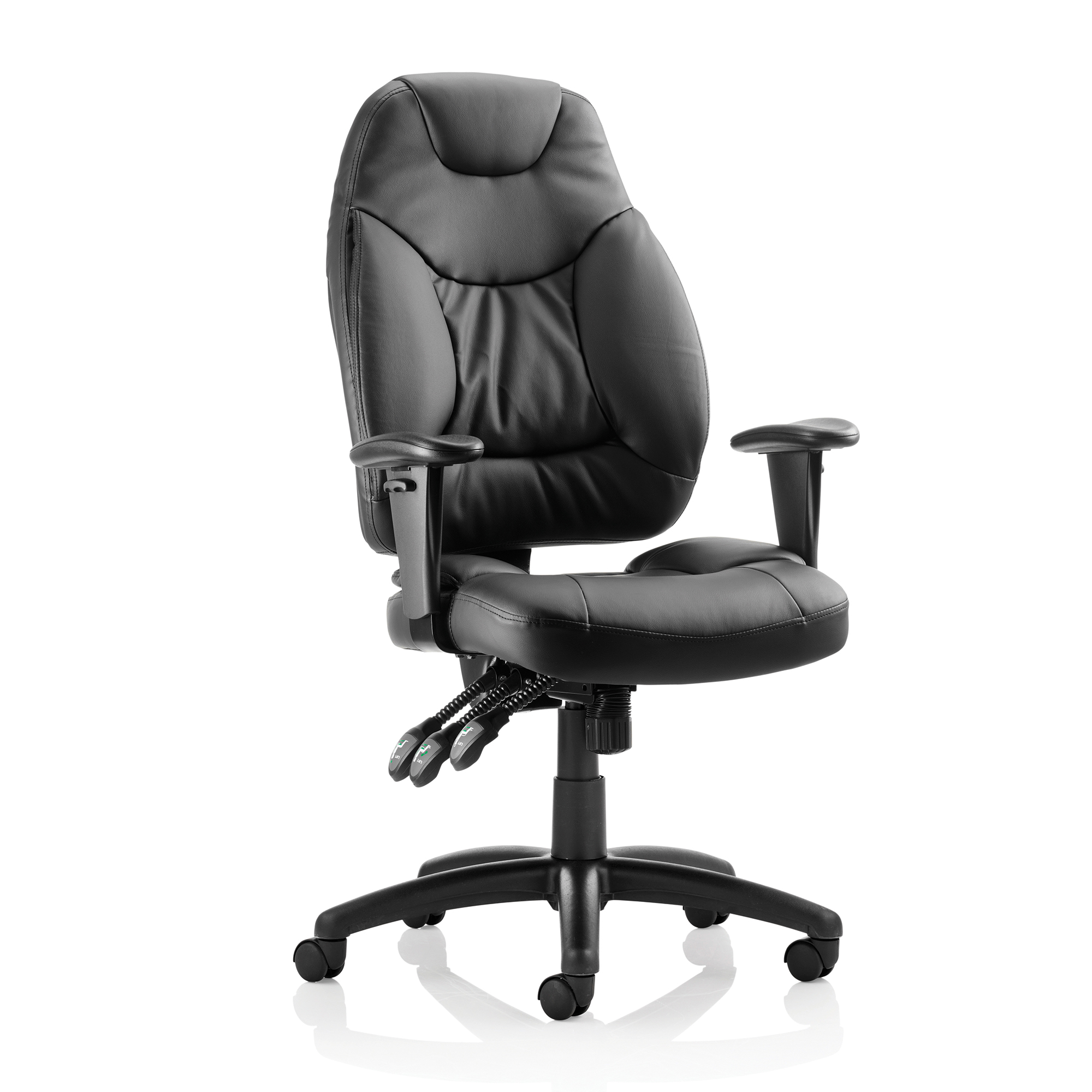 Guest seating Sonix Galaxy Task Operator Chair With Arms Leather Black Ref OP000068