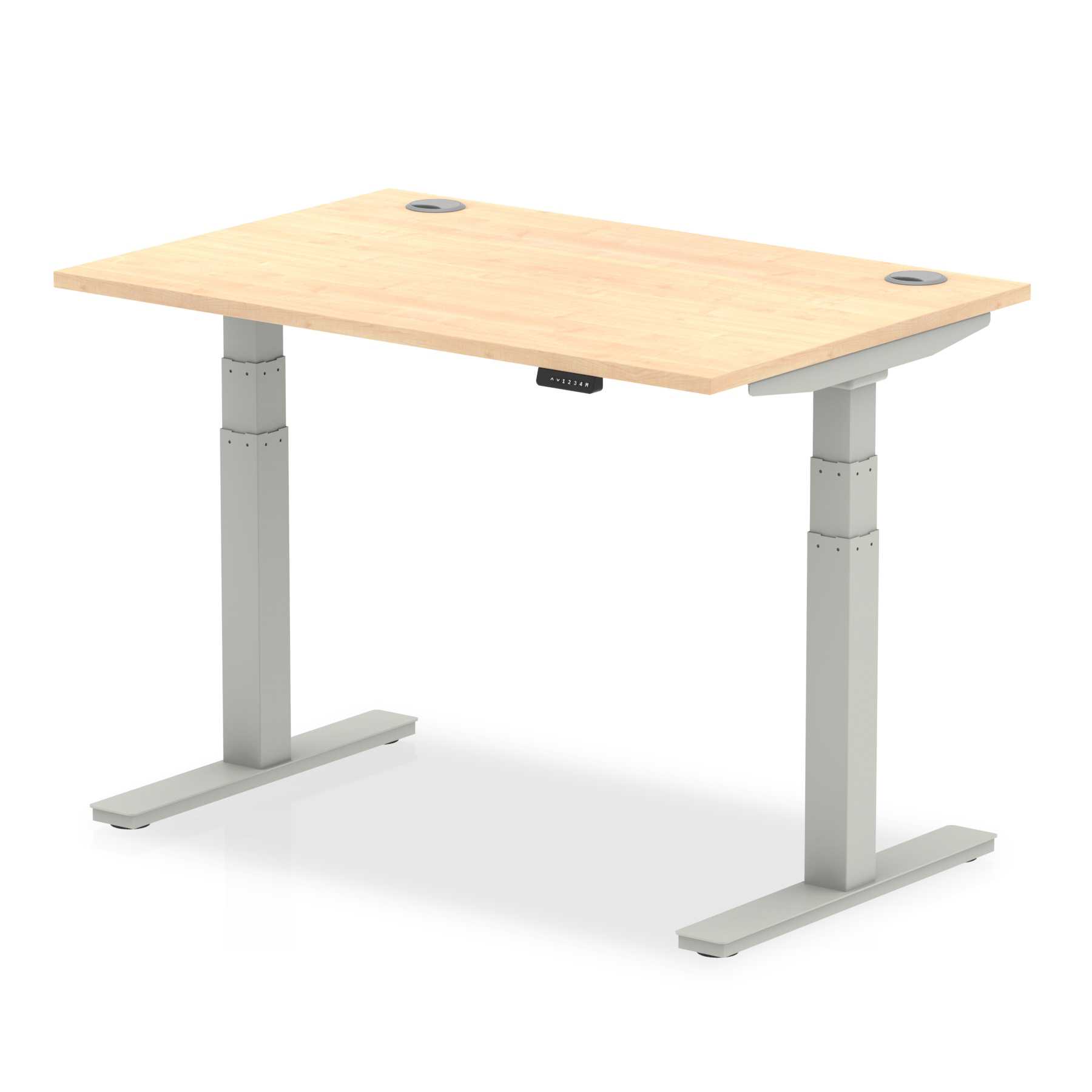 Trexus Sit Stand Desk With Cable Ports Silver Legs 1200x800mm Maple Ref HA01093