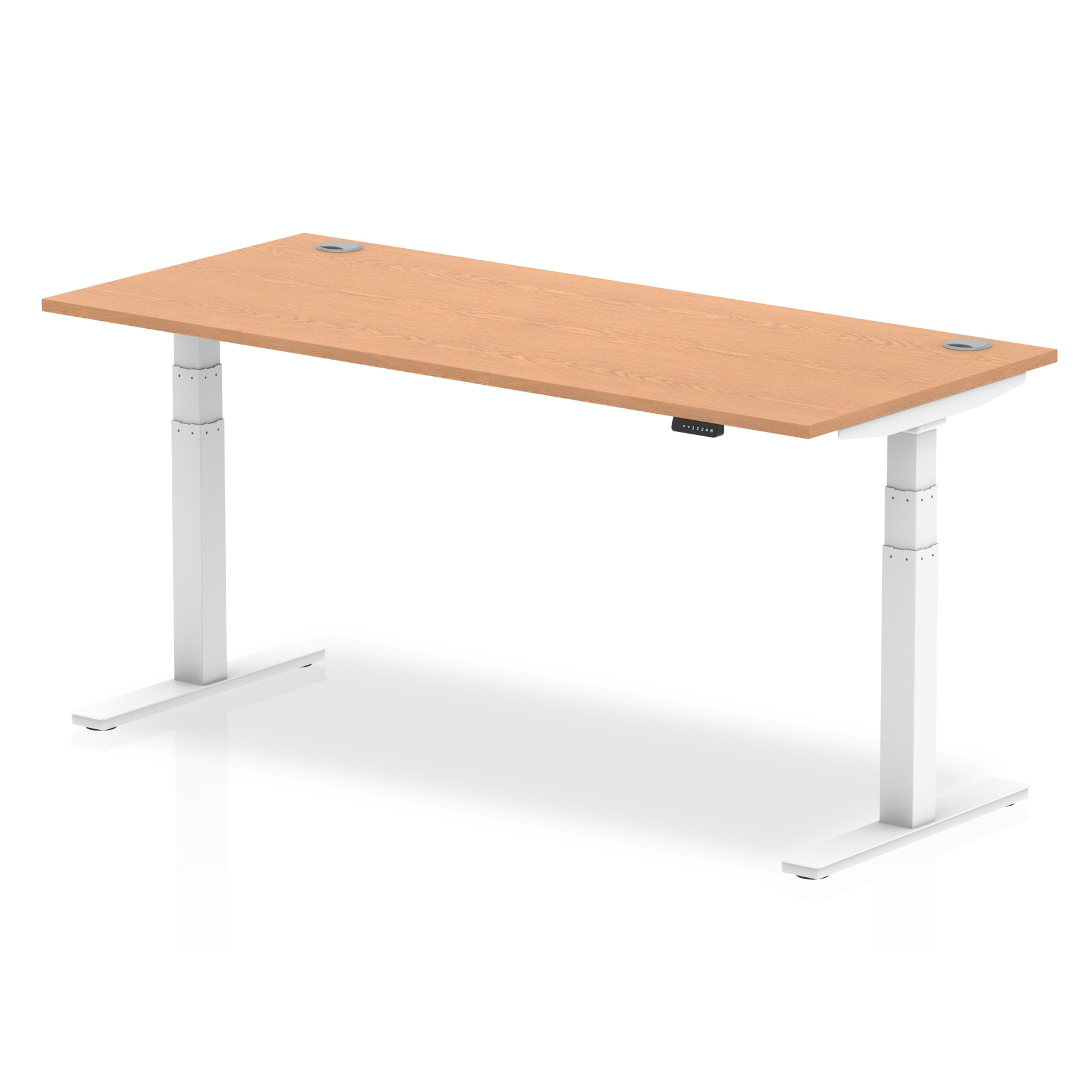 Trexus Sit Stand Desk With Cable Ports White Legs 1800x800mm Oak Ref HA01120