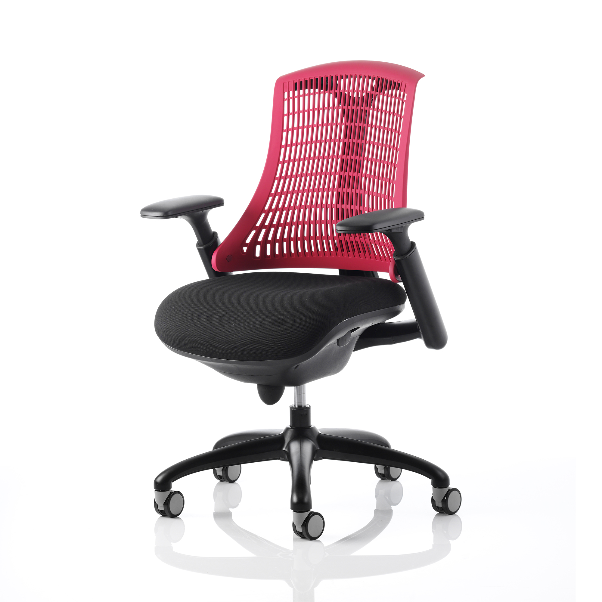Trexus Flex Task Operator Chair With Arms Black Fabric Seat Red Back Black Frame Ref KC0073