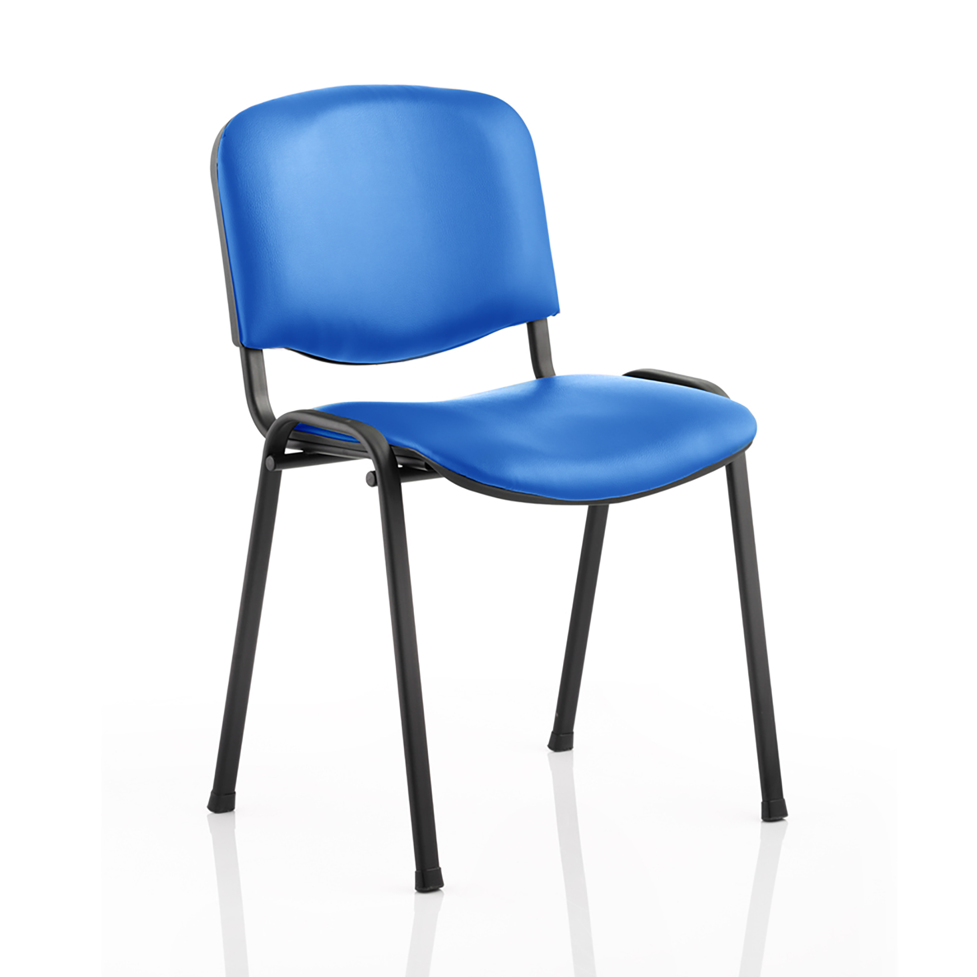 Trexus ISO Stacking Chair Without Arms Blue Vinyl Black Frame Ref BR000063