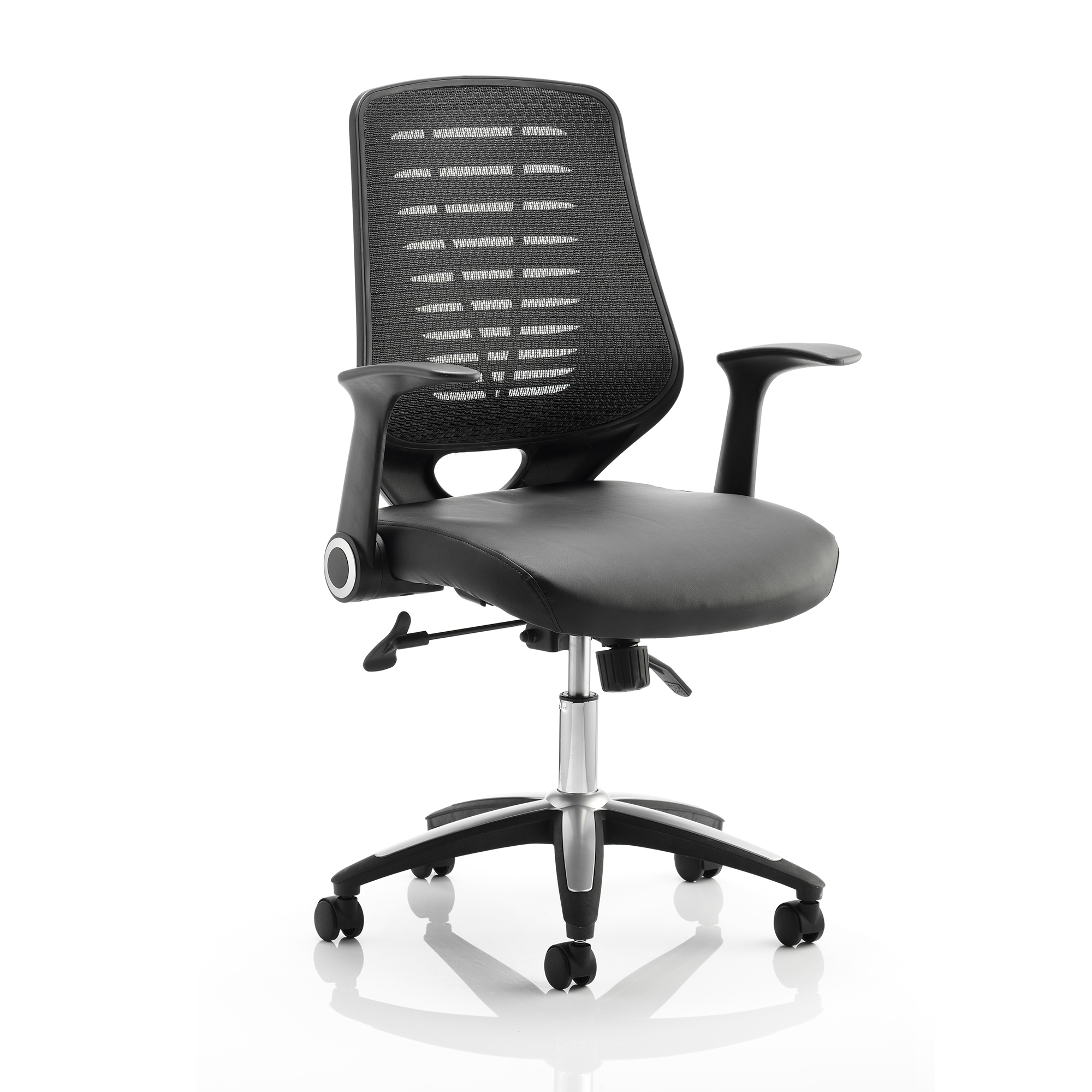Guest seating Sonix Relay Task Operator Chair With Arms Leather Seat Back Black Ref OP000117