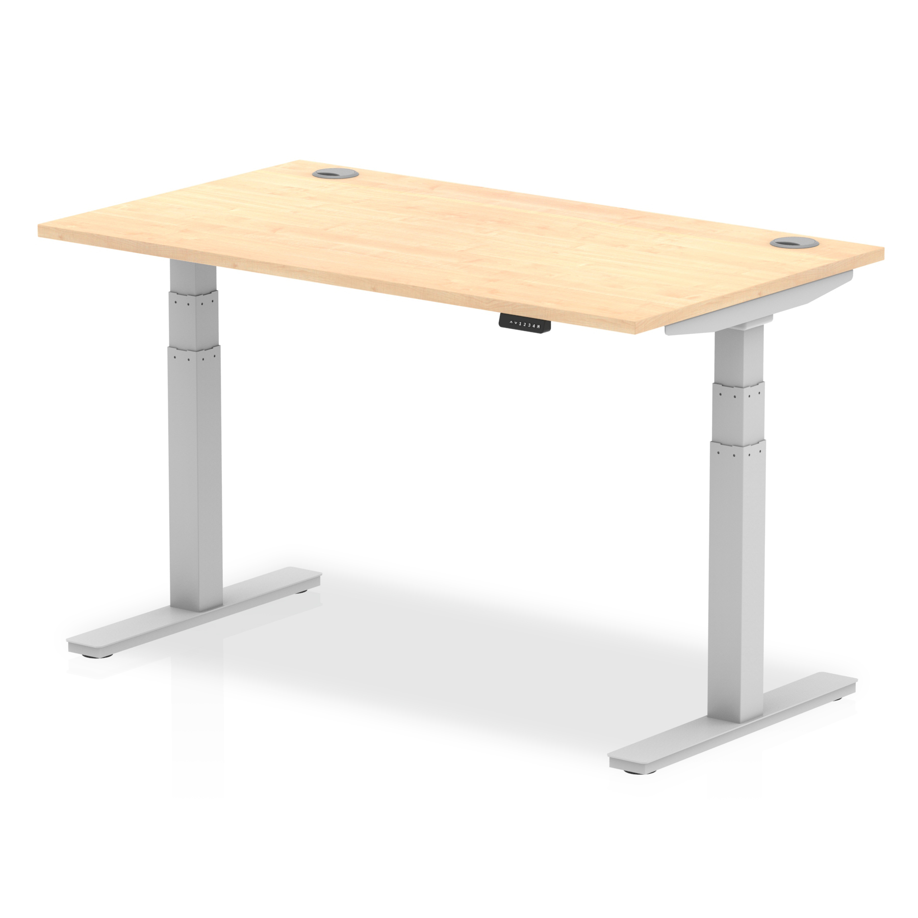 Trexus Sit Stand Desk With Cable Ports Silver Legs 1400x800mm Maple Ref HA01094