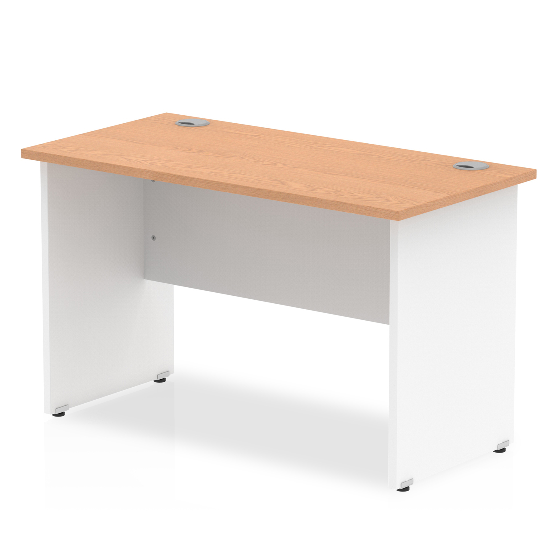 Trexus Desk Rectangle Panel End 800x600mm Oak Top White Panels Ref TT000077
