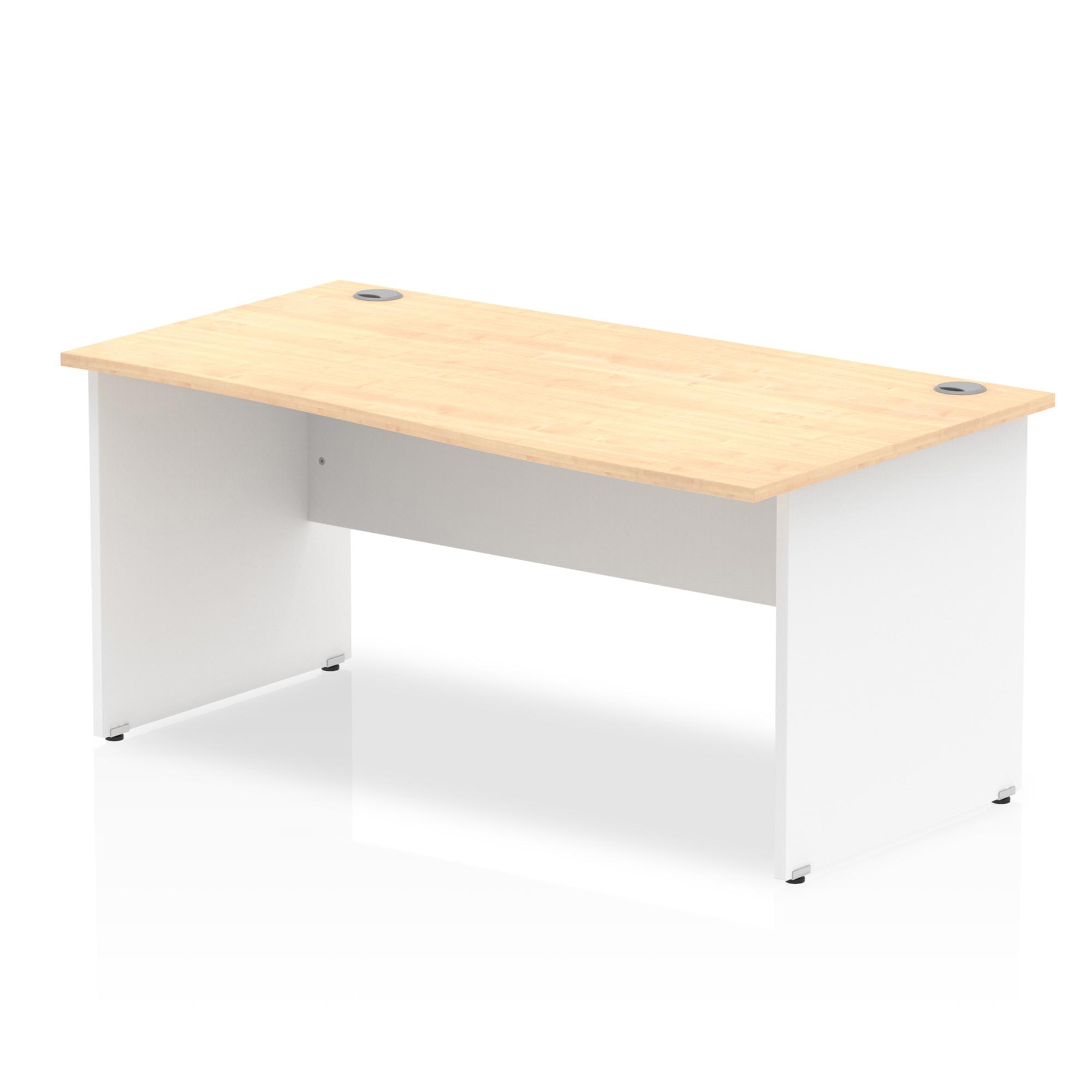 Trexus Desk Wave Right Hand Panel End 1600x800mm Maple Top White Panels Ref TT000120