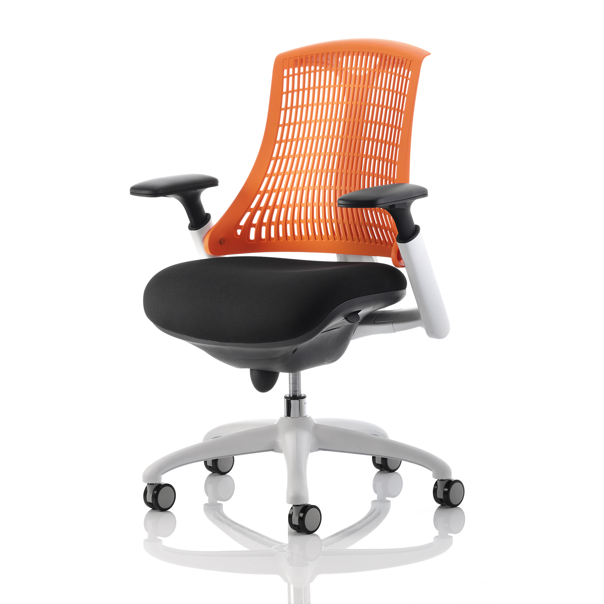 Trexus Flex Task Operator Chair With Arms Black Fabric Seat Orange Back White Frame Ref KC0059