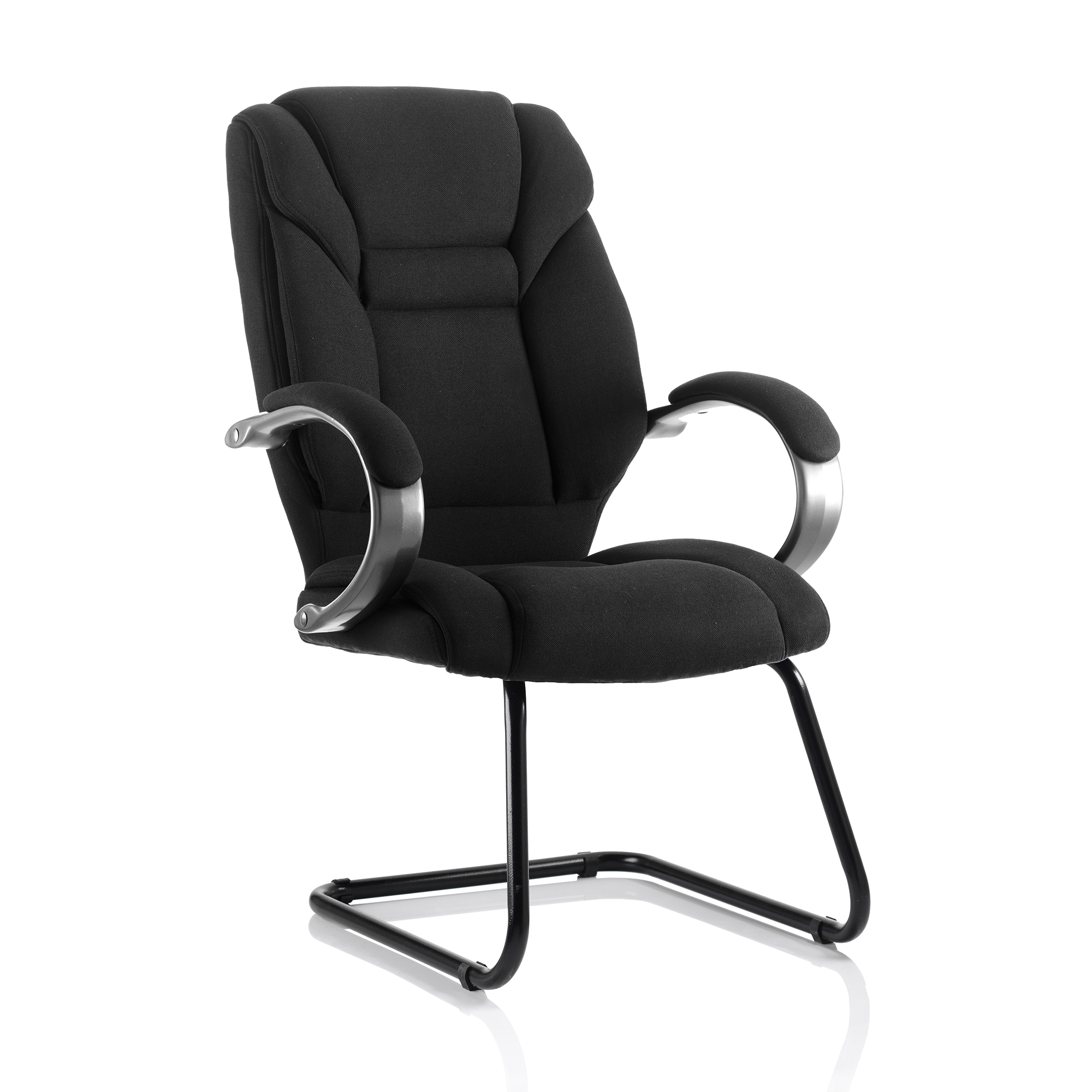 Guest seating Trexus Galloway Cantilever Chair With Arms Fabric Black Ref KC0122