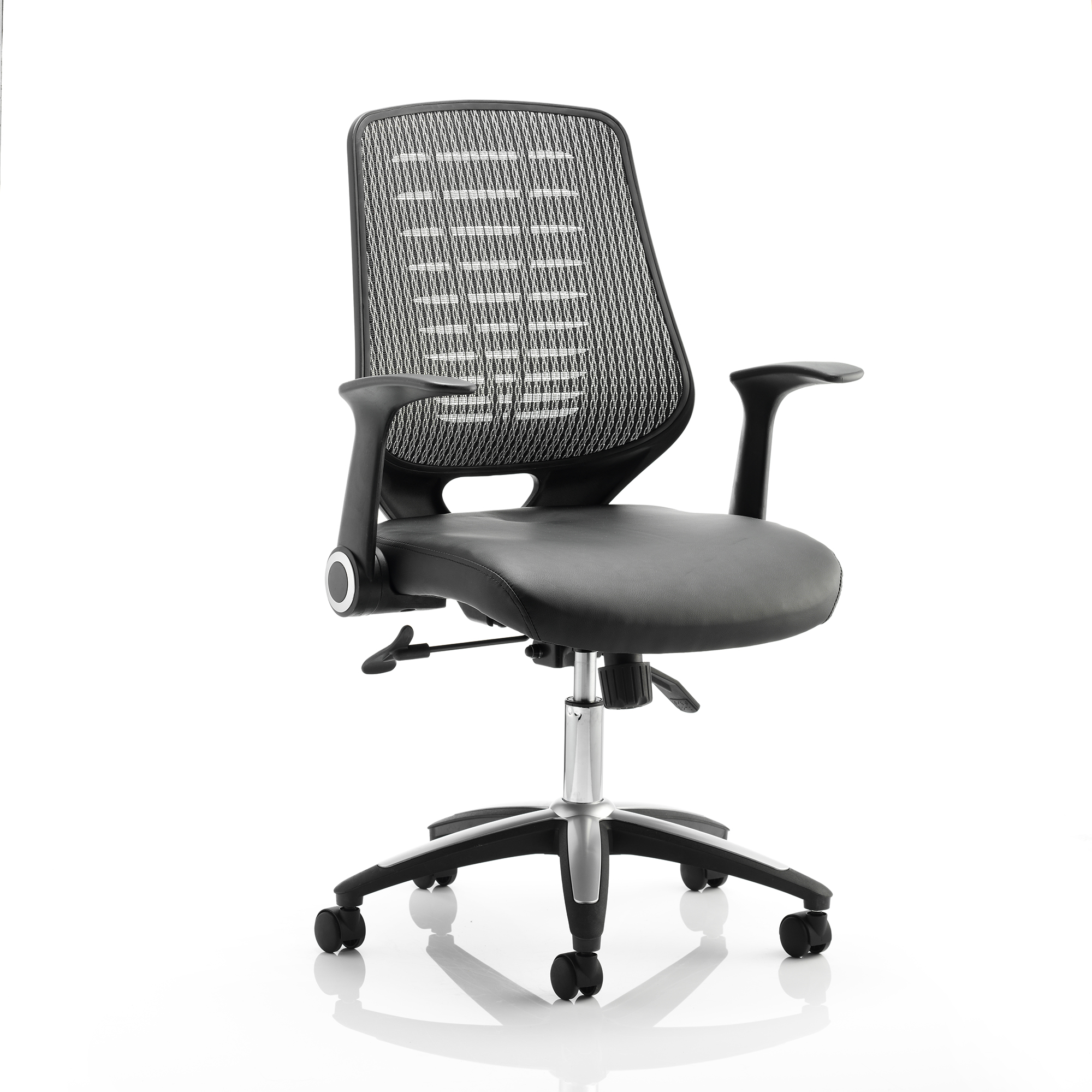 Guest seating Sonix Relay Task Operator Chair With Arms Leather Seat Back Silver Ref OP000118