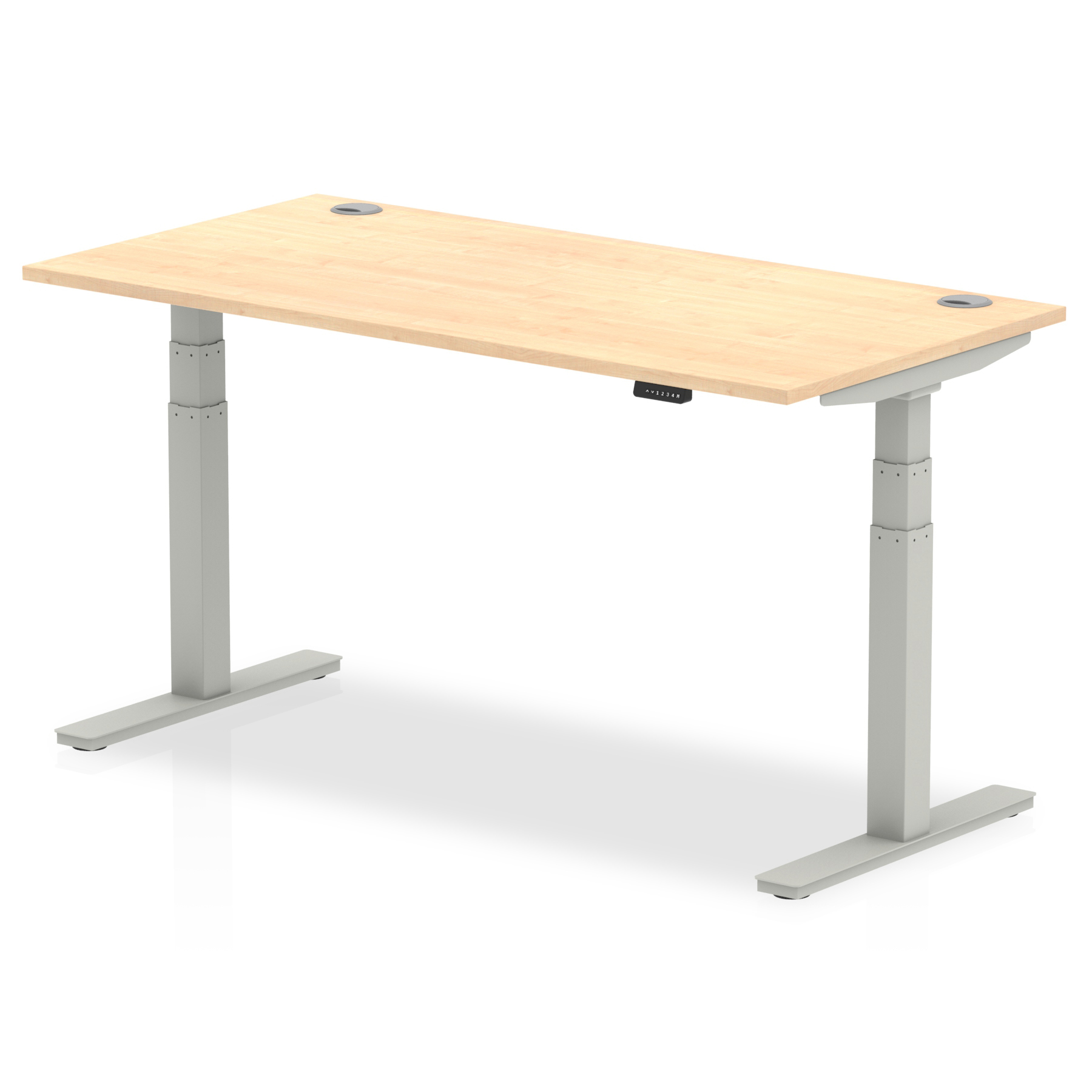 Trexus Sit Stand Desk With Cable Ports Silver Legs 1600x800mm Maple Ref HA01095
