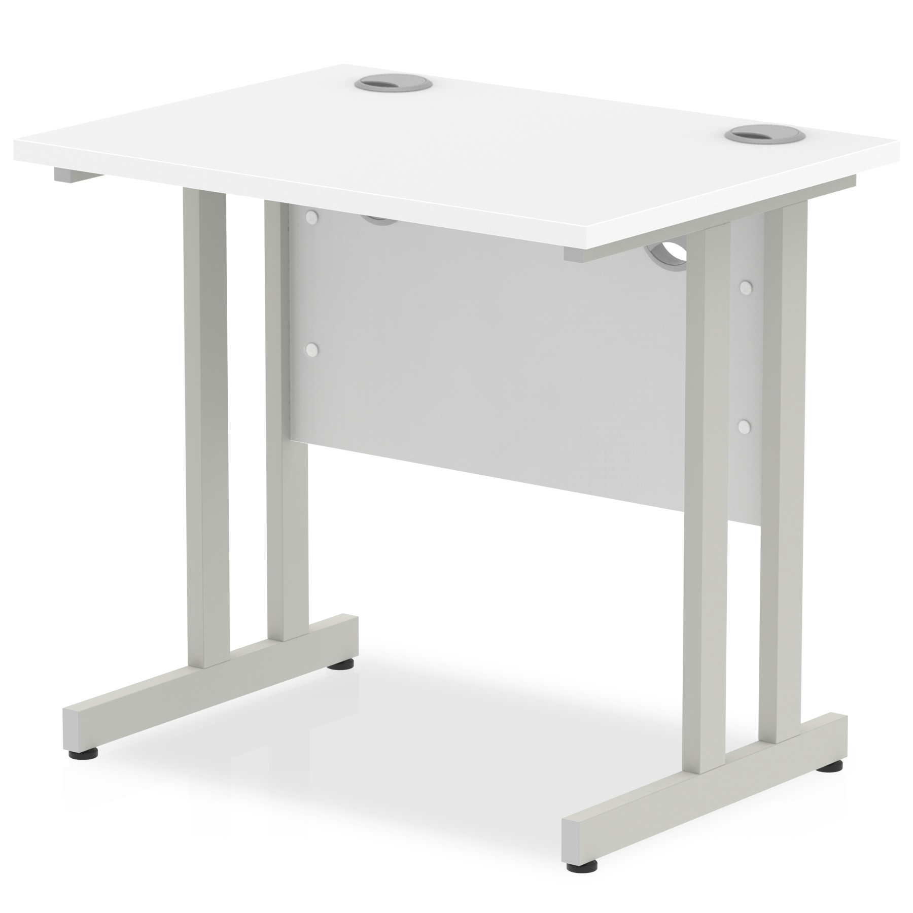 Trexus Desk Rectangle Cantilever Silver Leg 800x600mm White Ref MI002894