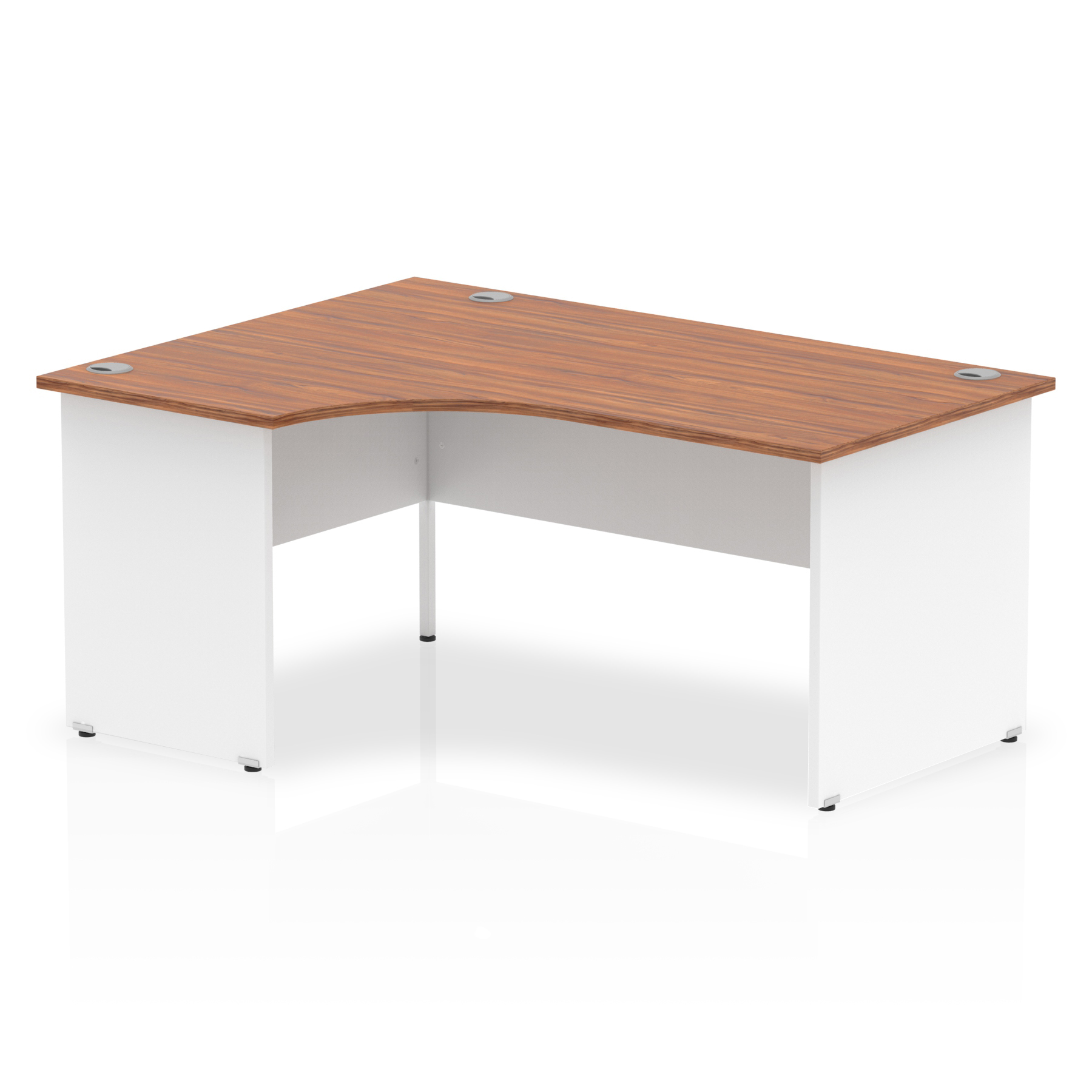 Trexus Desk Crescent Left Hand Panel End 1600x800mm Walnut Top White Panels Ref TT000025