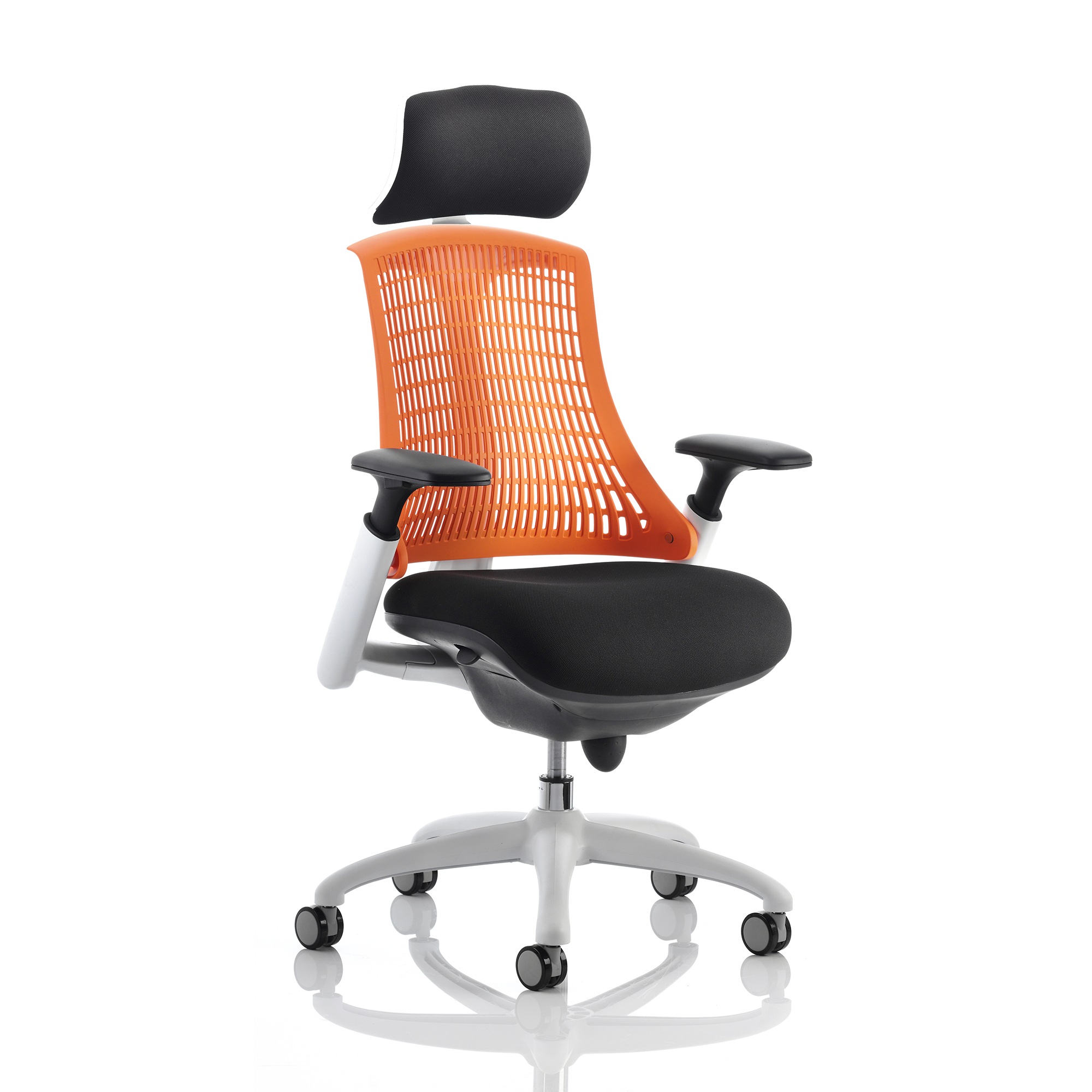 Trexus Flex Task Operator Chair With Arms And Headrest Blk Fabric Seat Orange Back White Frame Ref KC0091