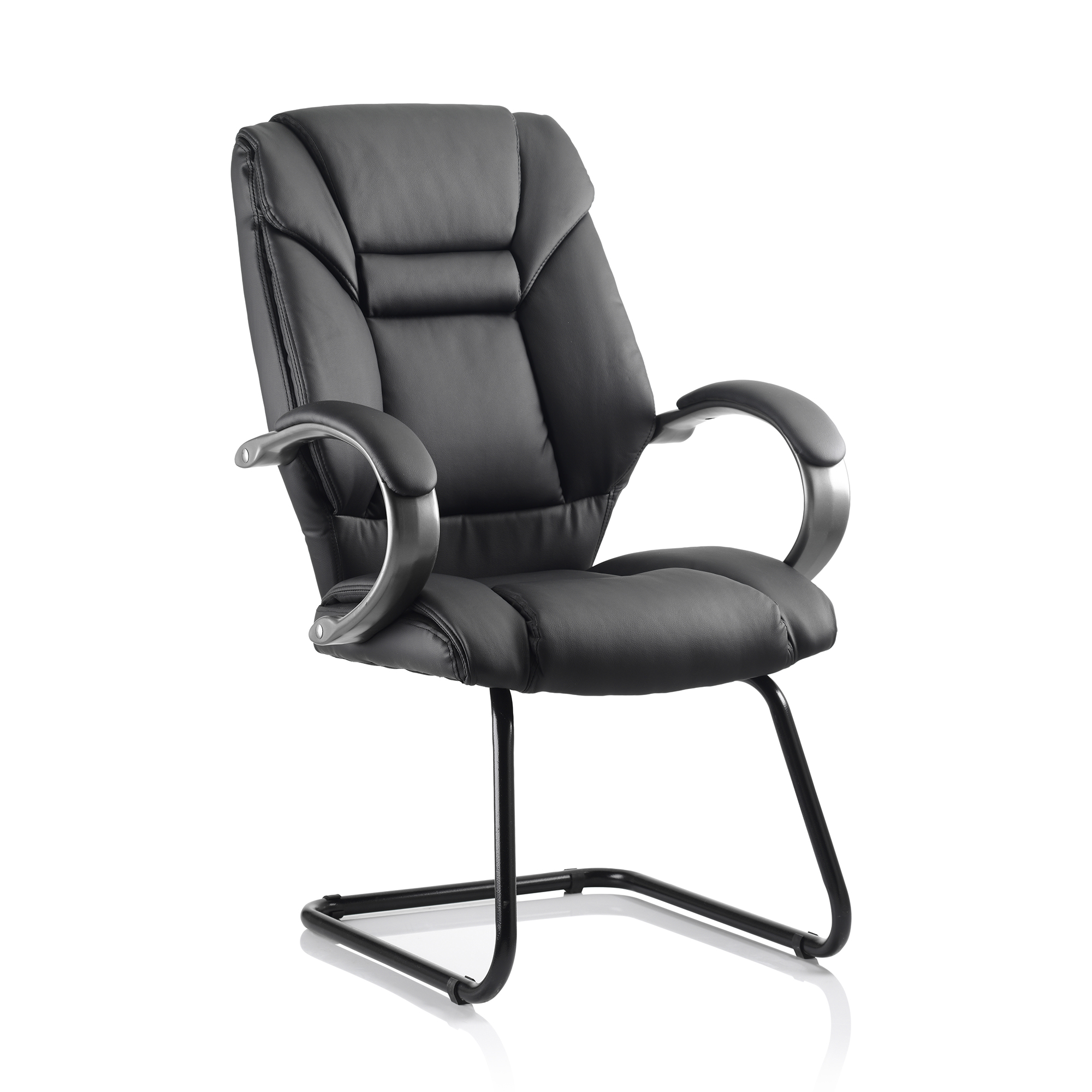 Guest seating Trexus Galloway Cantilever Chair With Arms Leather Black Ref KC0119