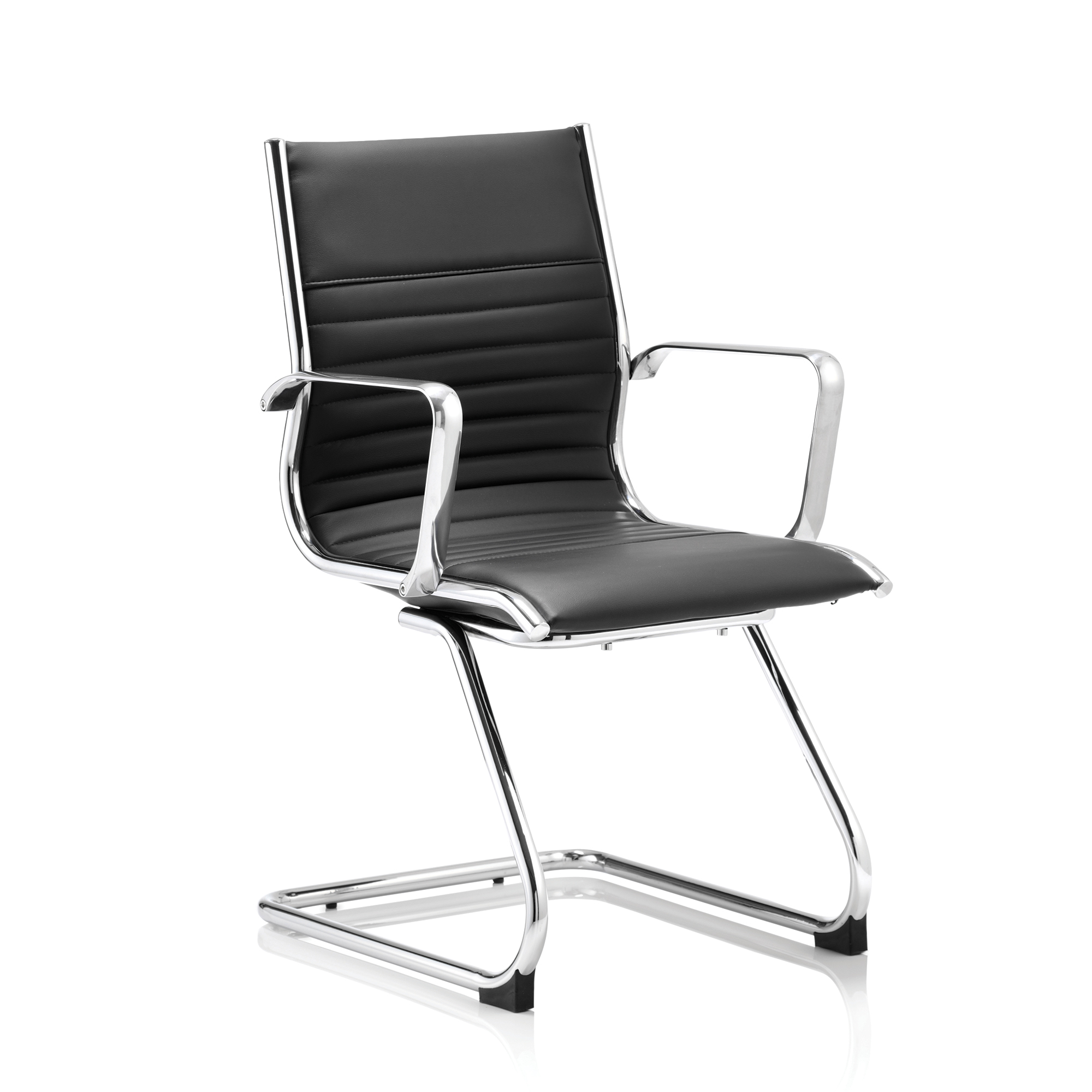 Guest seating Sonix Ritz Cantilever Chair With Arms Bonded Leather Black Ref BR000123